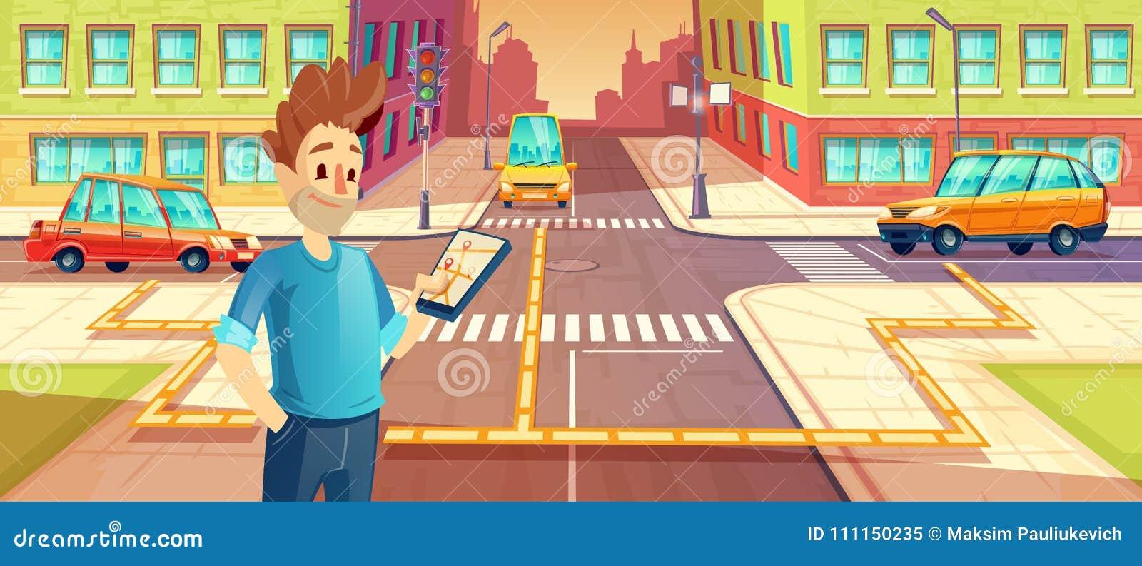 导航汽车分享的例证,有手机的人有合伙使用汽车的app 车旅行的,旅行租概念