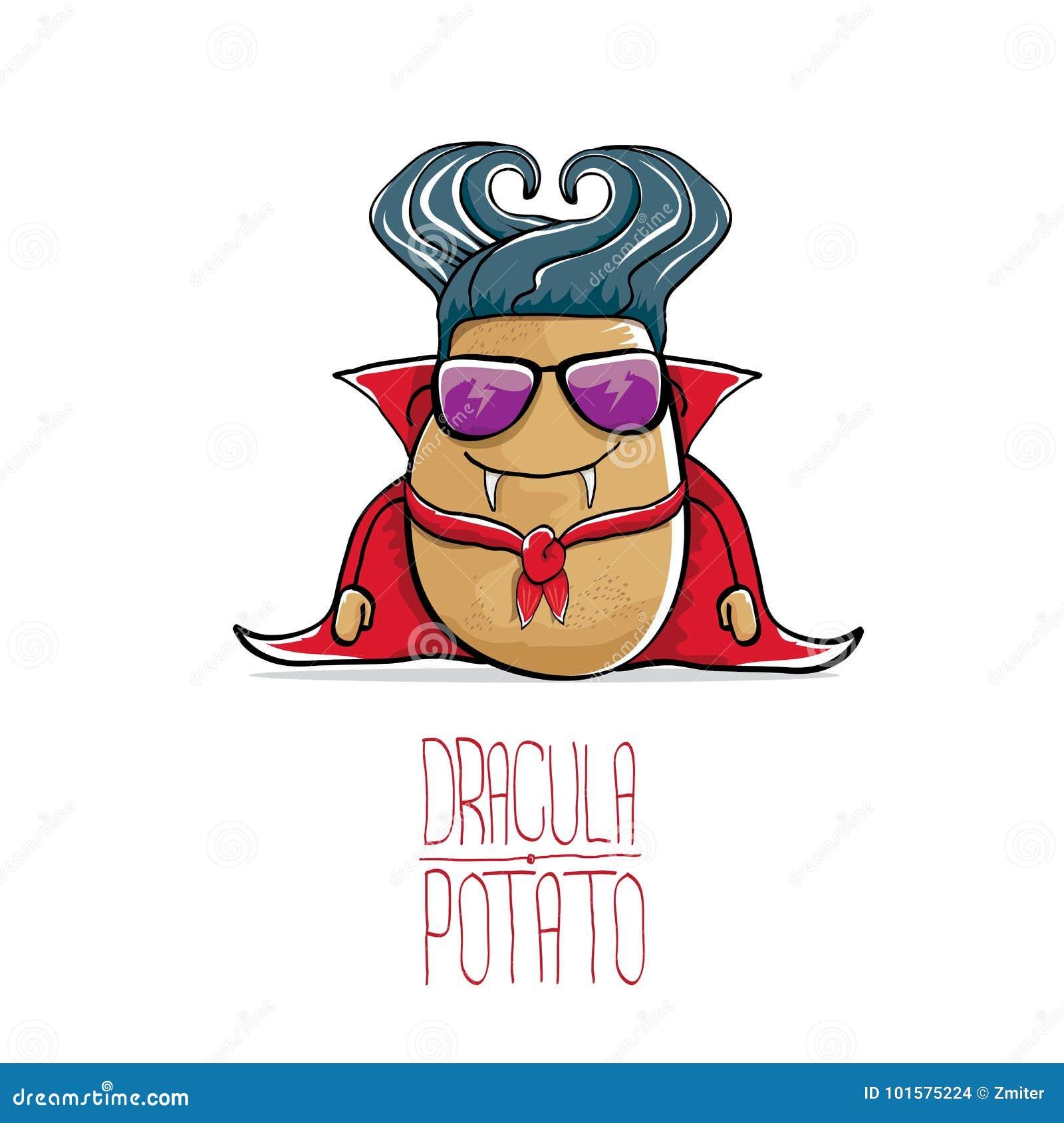 导航滑稽的与犬齿的动画片逗人喜爱的德雷库拉土豆和在白色背景的红色海角 吸血鬼妖怪菜