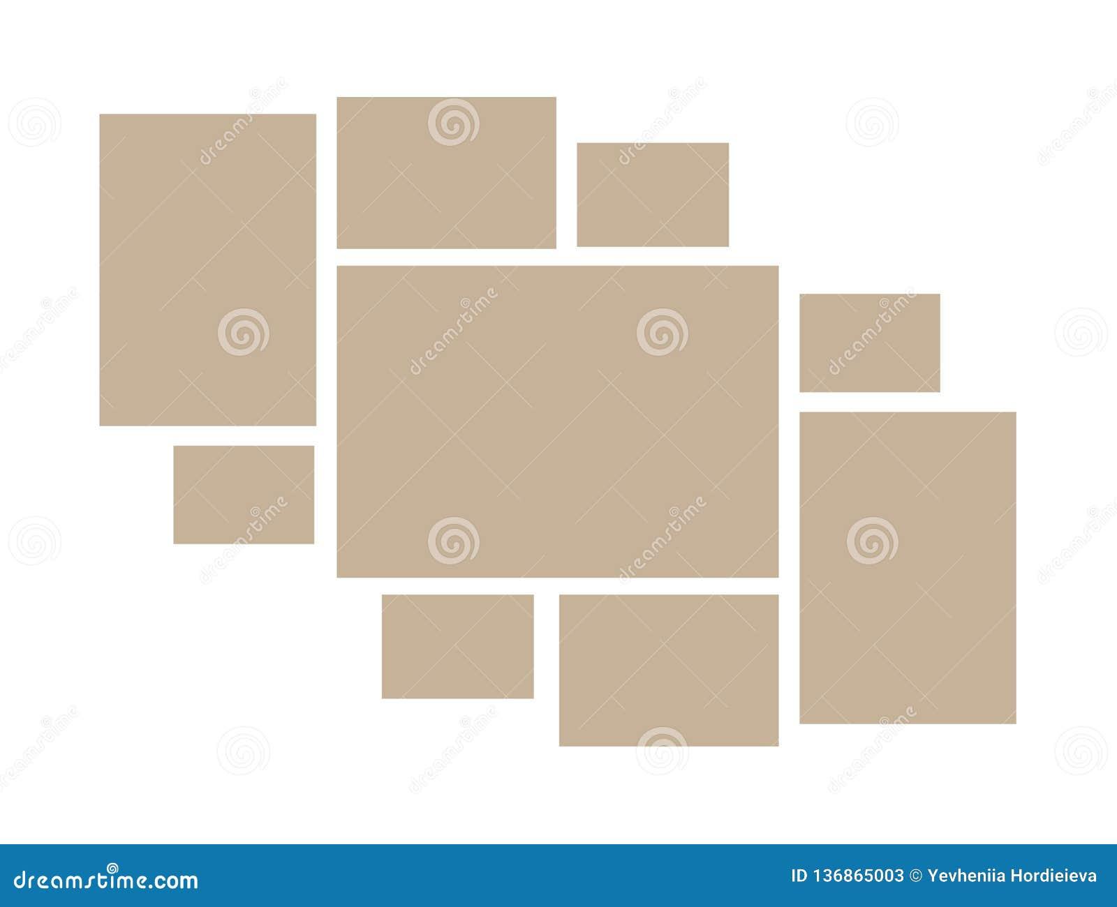 导航照片和图片,照片拼贴画,照片难题的框架 模板照片或例证的拼贴画框架 传染媒介心情