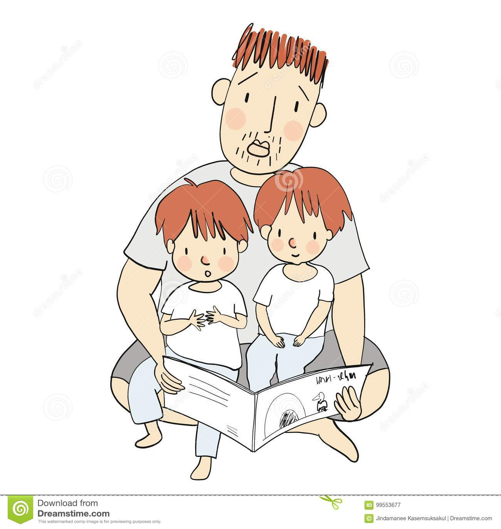 导航爸爸读书与他的小孩的儿童图书的例证