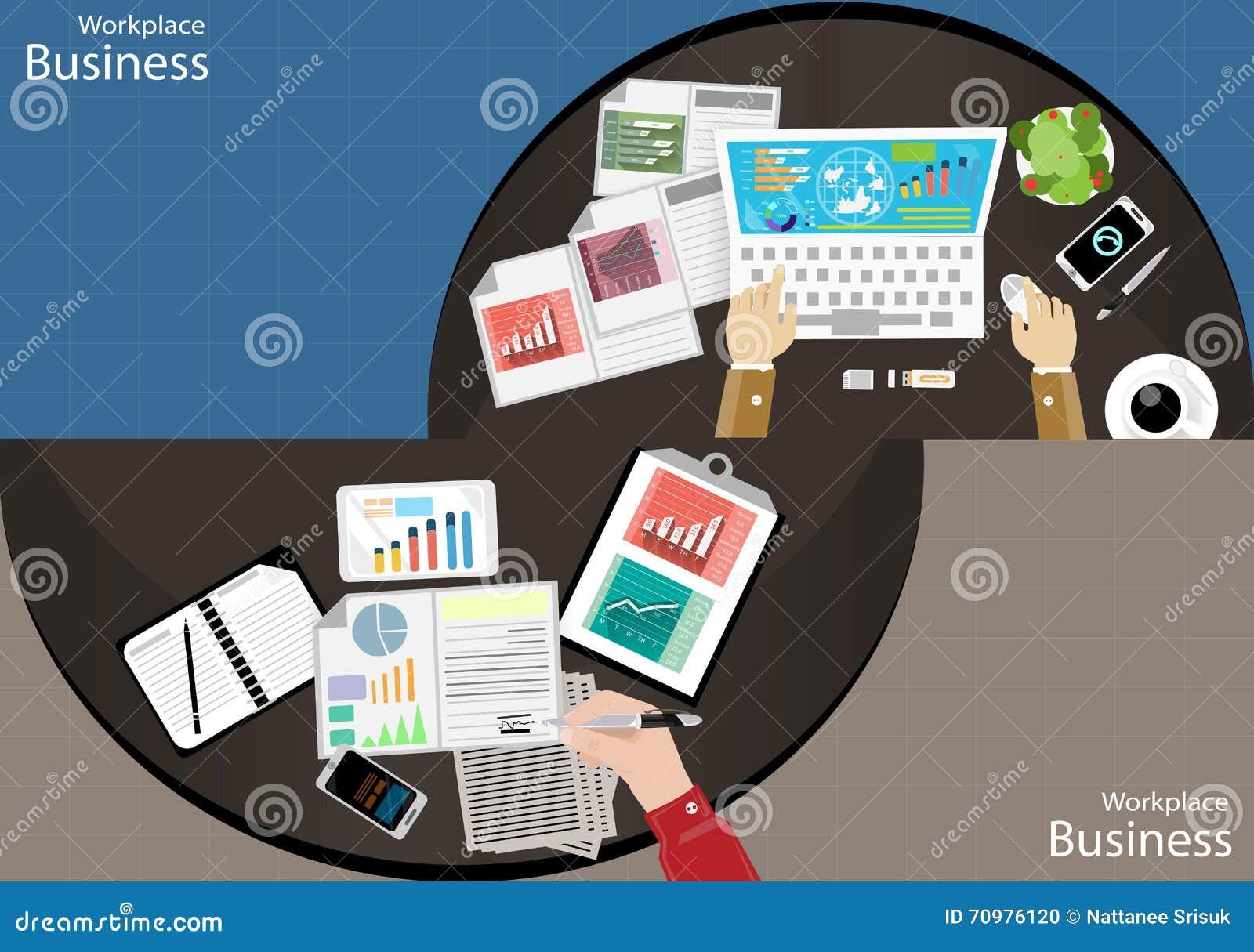 导航现代通讯技术分配的工作场所商人顶视图,支持流动笔记本计算机片剂纸