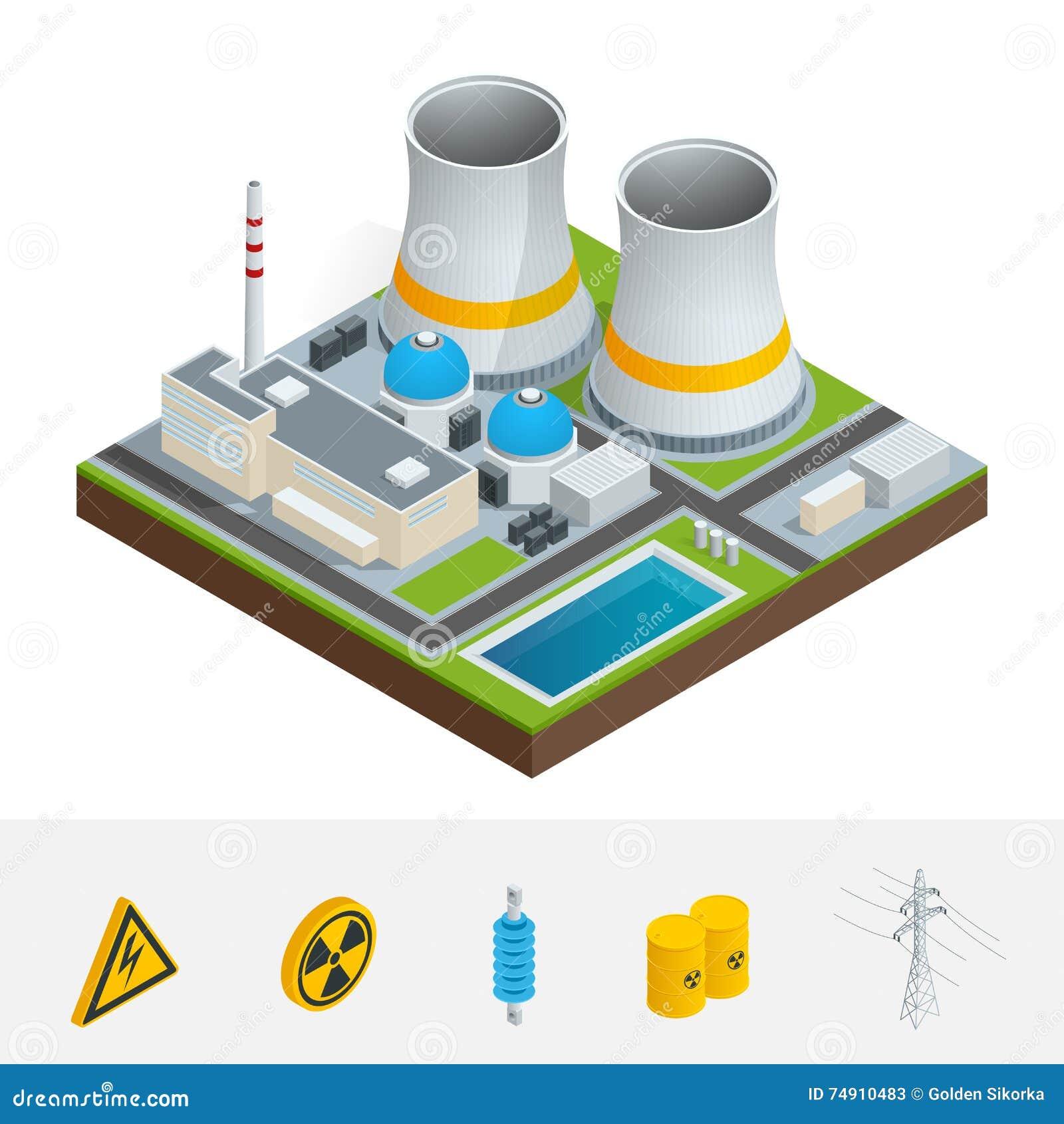 导航等量象、infographic元素代表核发电站的,反应器、输电线和核能
