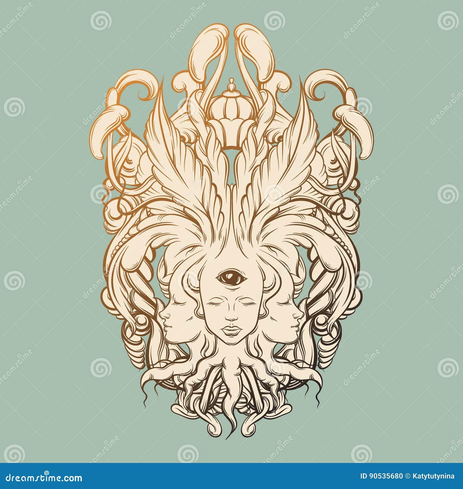 导航算命者的例证与三个头,眼睛,花卉巴洛克式的框架的
