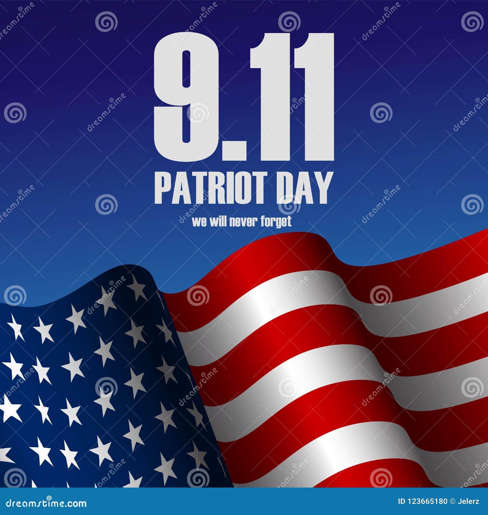 导航美利坚合众国现实旗子和文本爱国者天的例证