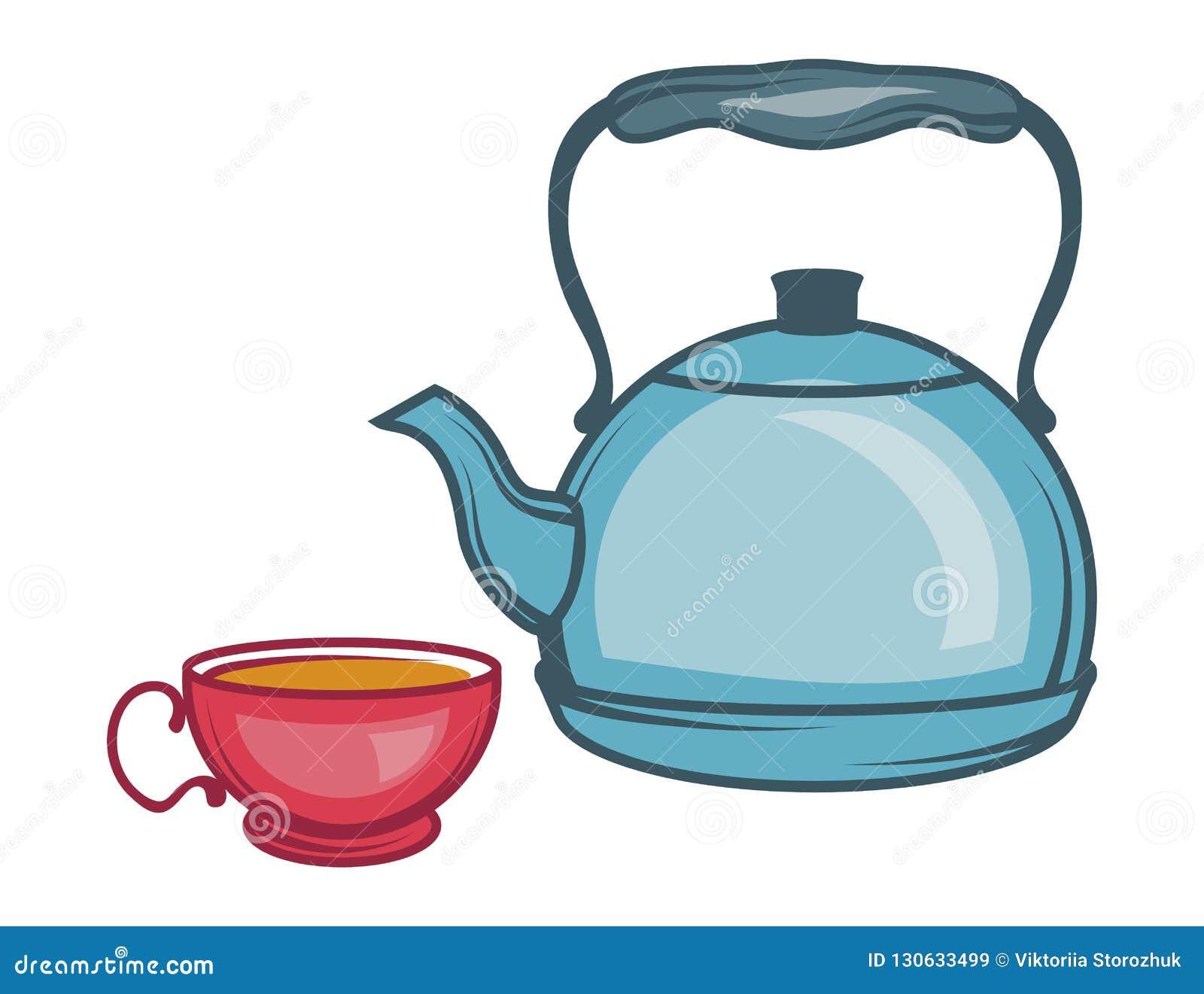 导航茶壶,在白色背景,茶壶商标的手拉的茶壶的例证