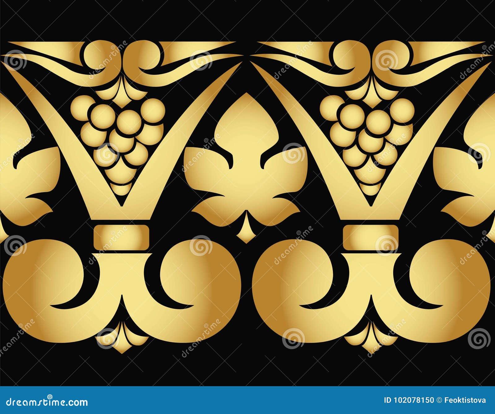 导航葡萄和叶子的金黄样式在黑背景 无缝的模式