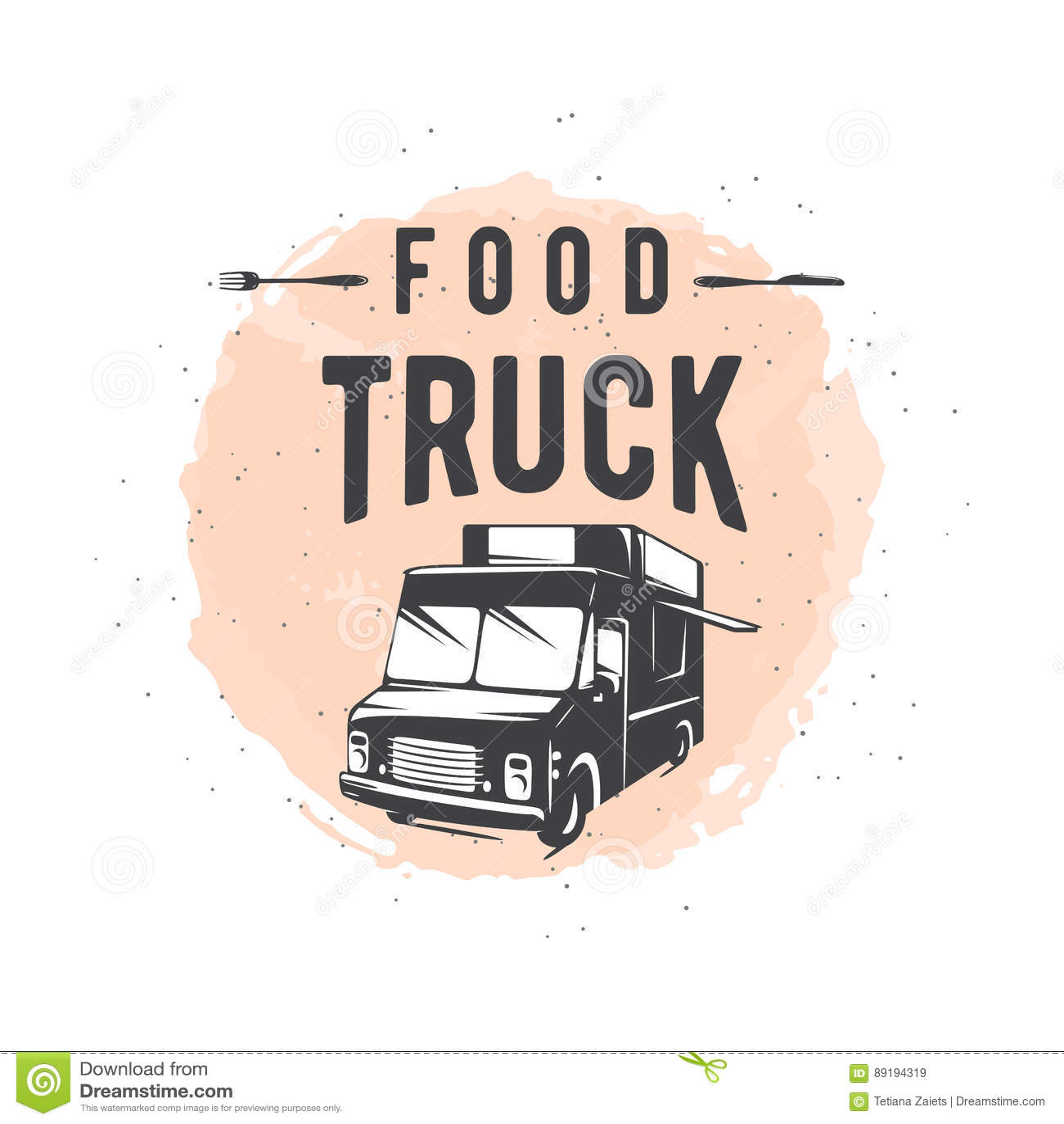 导航街道食物卡车图表徽章的例证