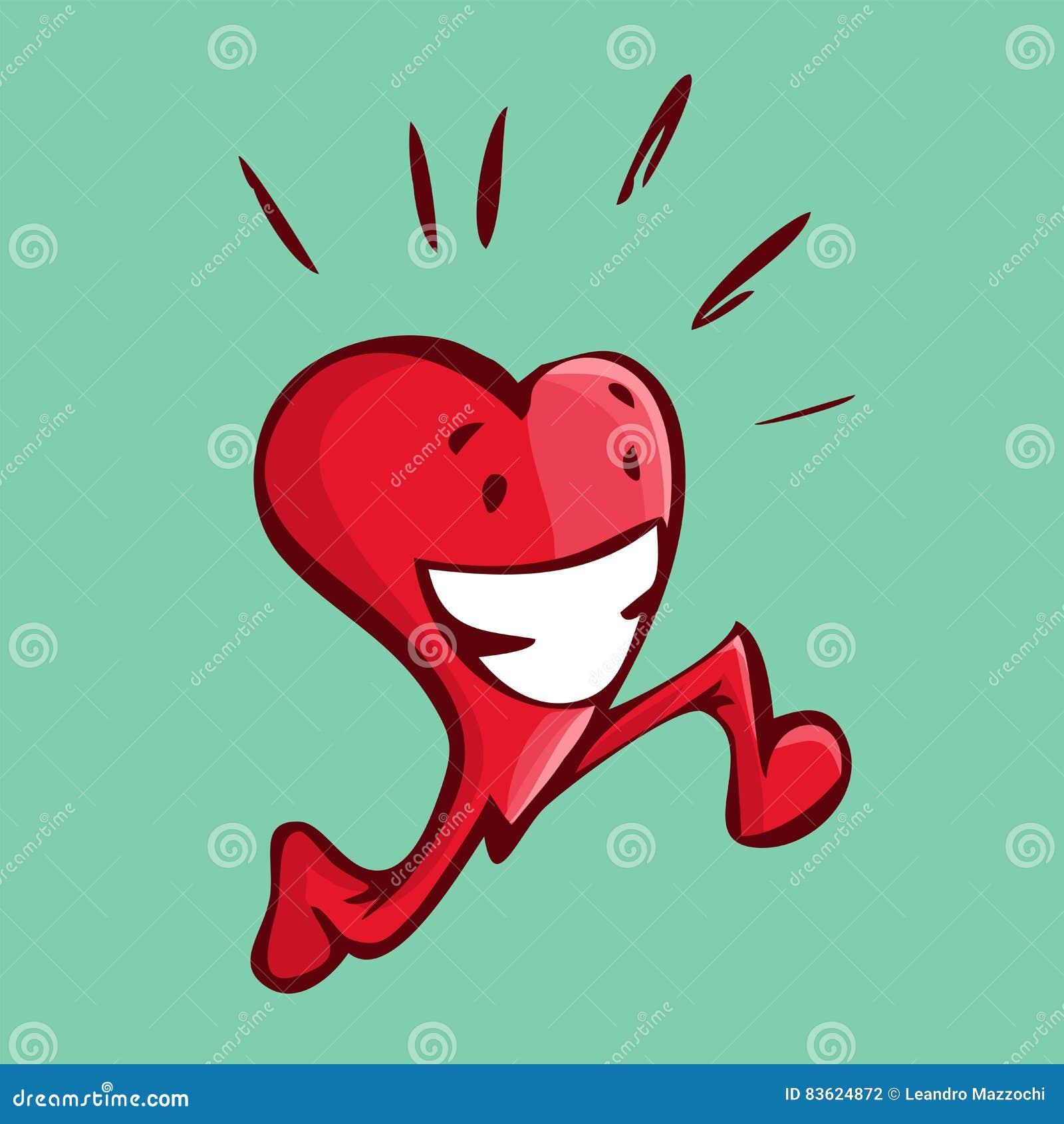 导航跑愉快的心脏的例证做某一心脏w