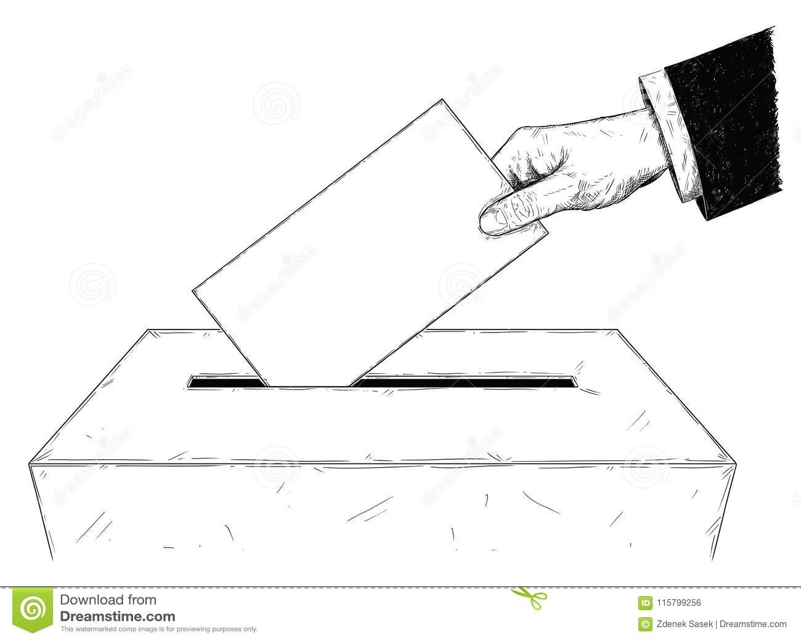 导航选民投入信封的` s手艺术性的例证或图画在投票箱