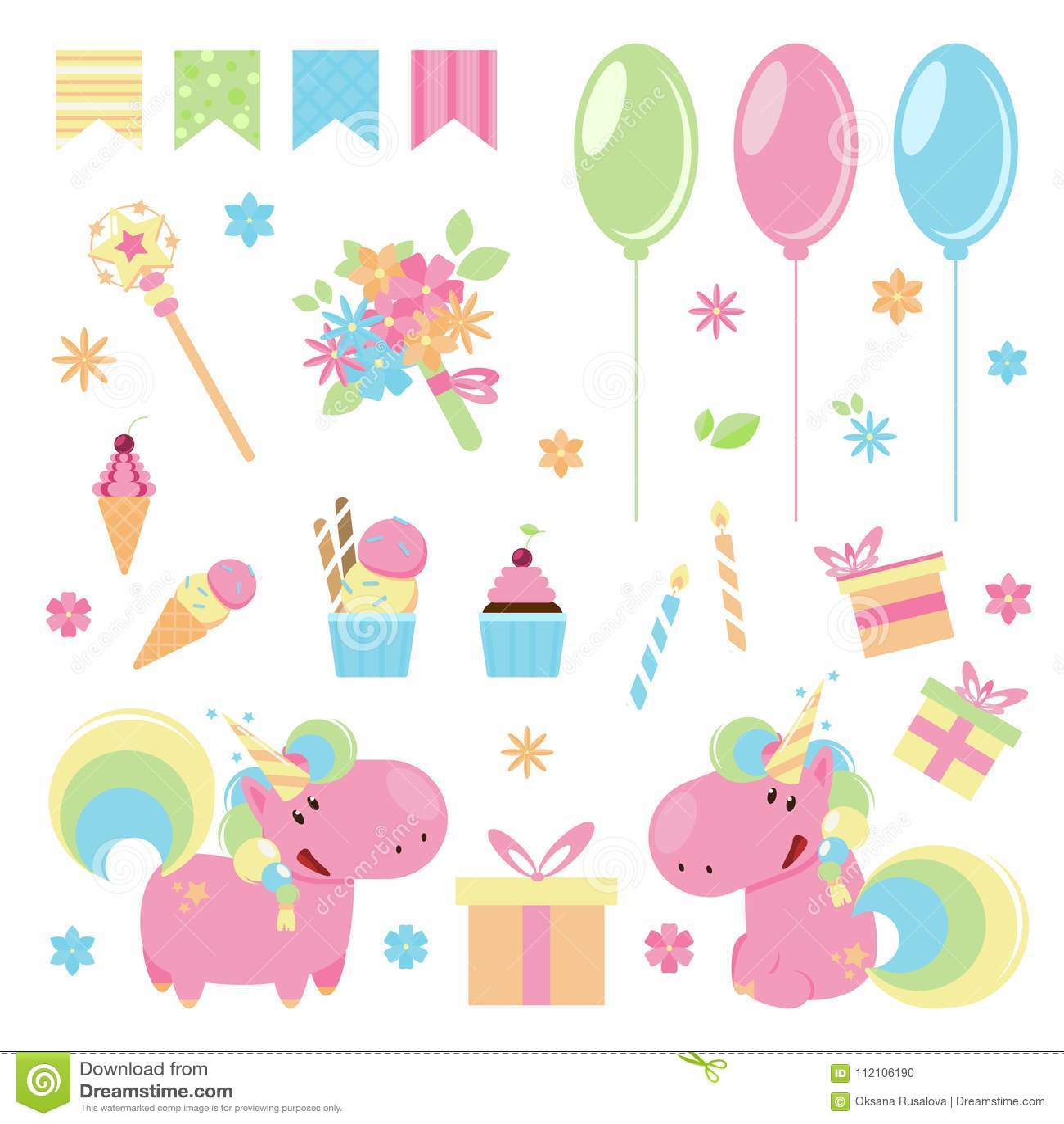 导航逗人喜爱的桃红色独角兽的例证与生日快乐元素的