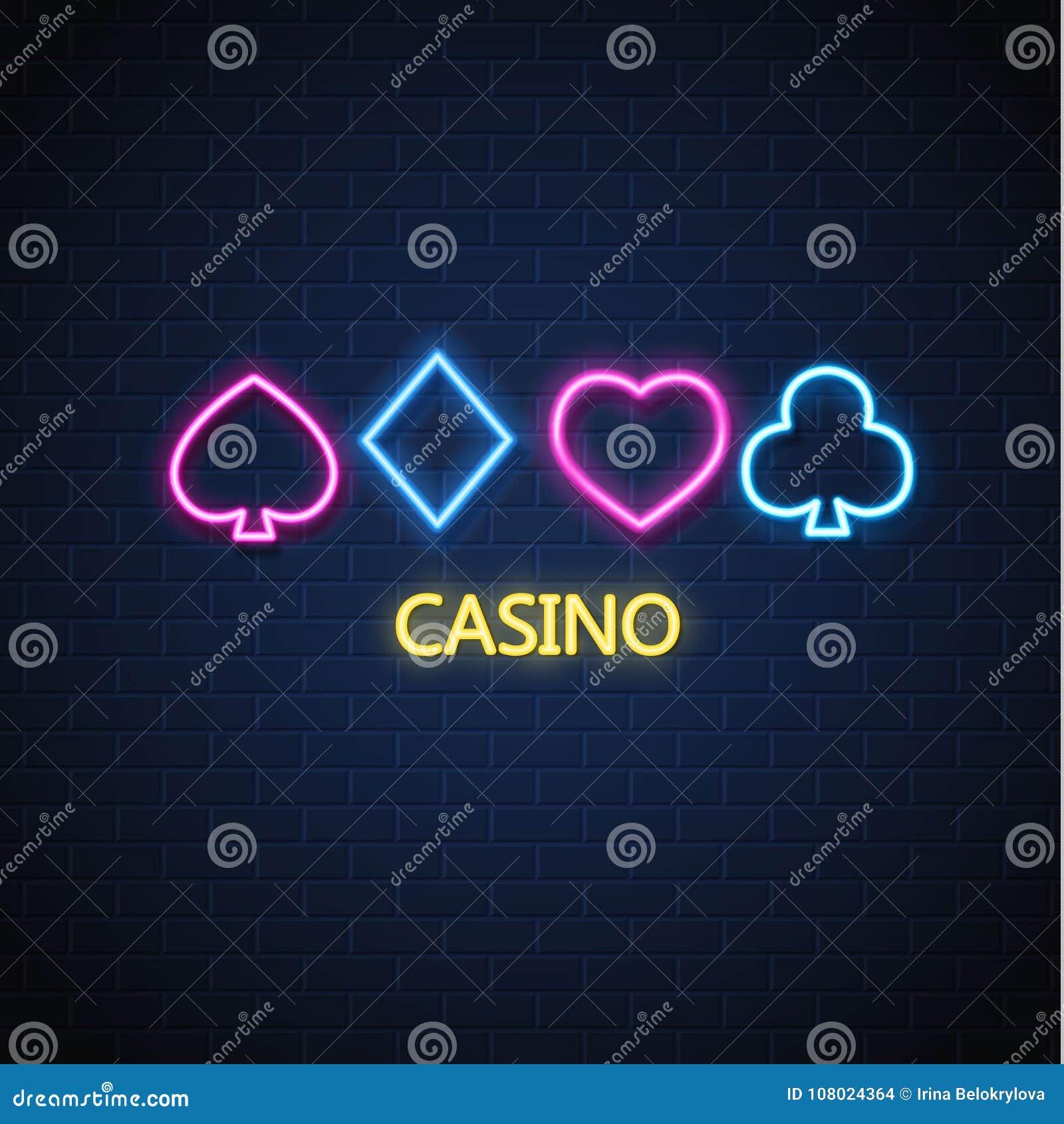 导航霓虹赌博娱乐场啤牌卡片衣服标志砖墙