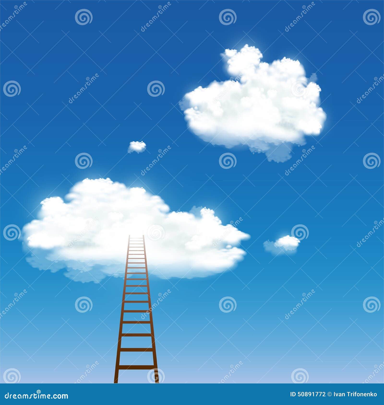 导致云彩的楼梯 库存照片 - 图片: 50891772图片