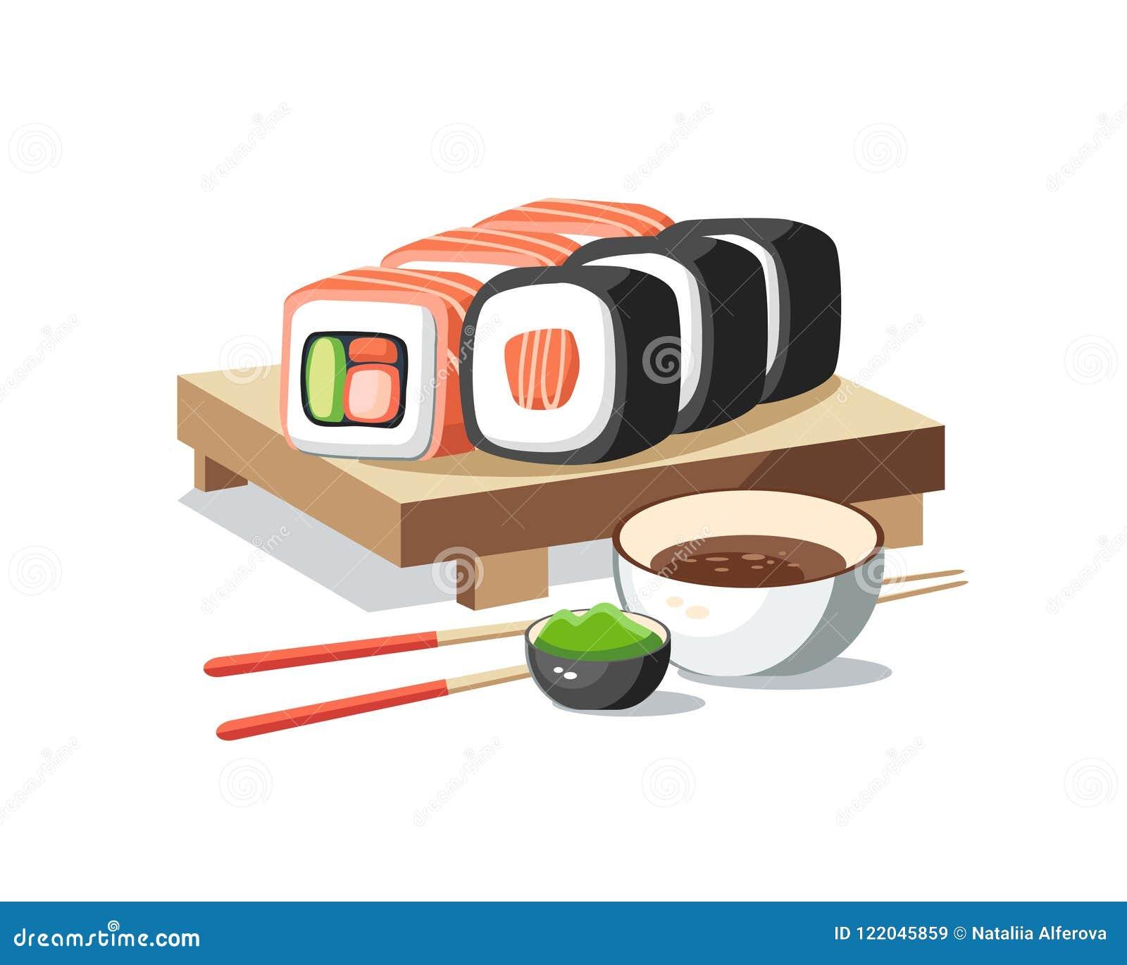寿司卷设置了说谎在板条鲜美可口与山葵a