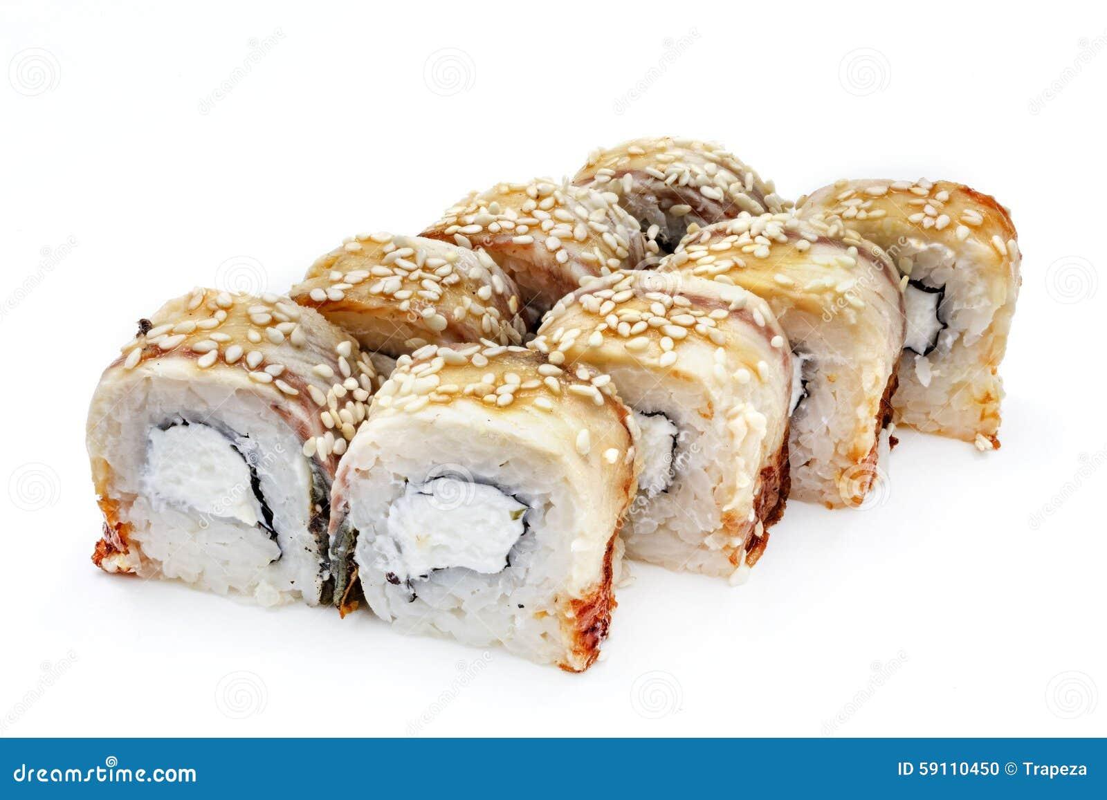 寿司,卷,日本海鲜寿司,在白色背景的卷