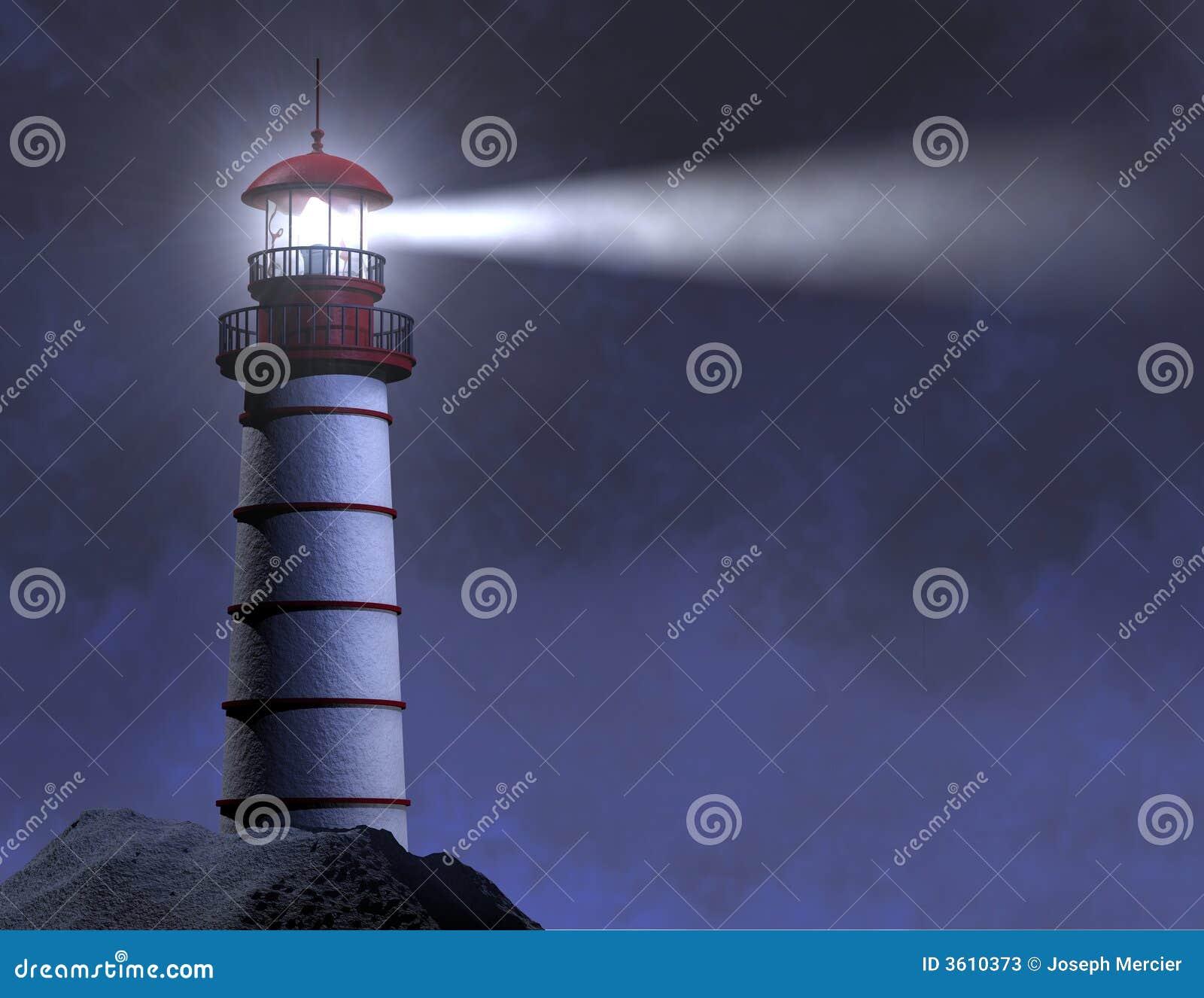 射线灯塔晚上