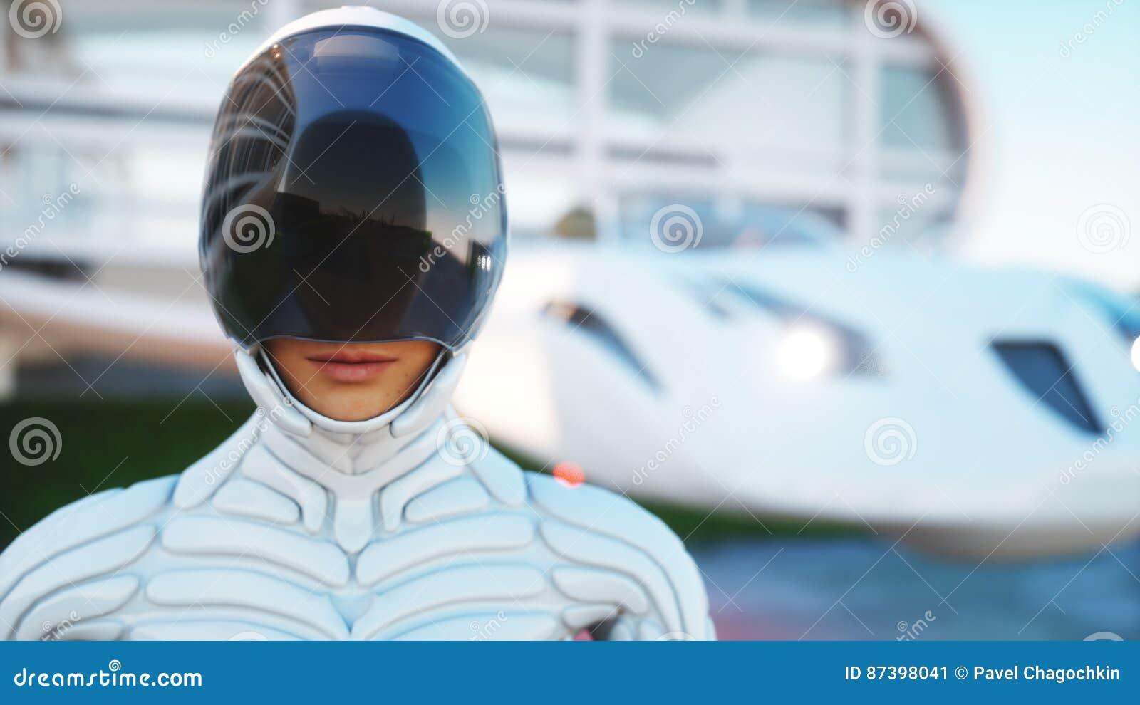 将来的房子 有走的妇女的未来派飞行汽车 3d翻译