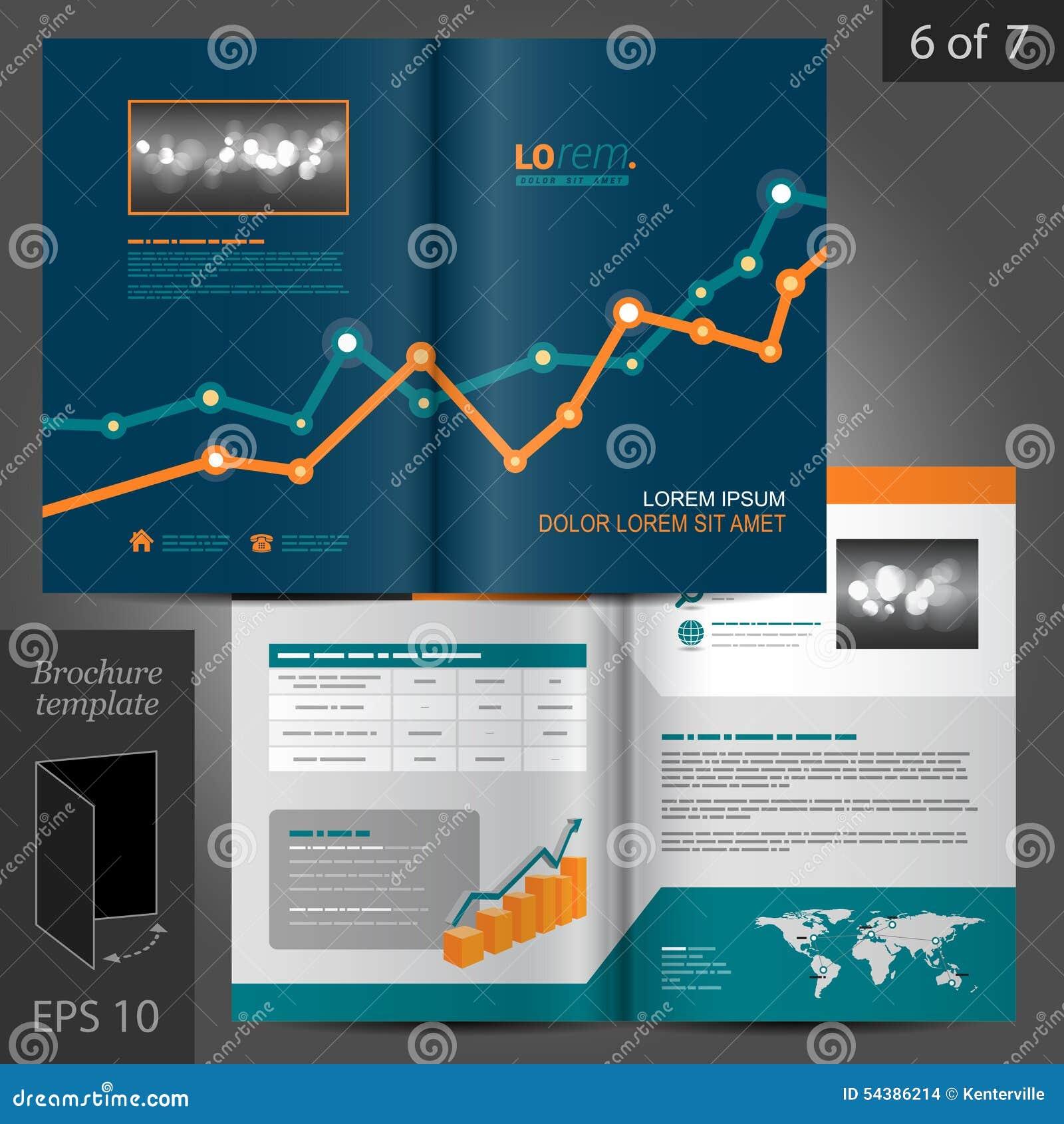 与图表的财政传染媒介小册子模板设计.图片