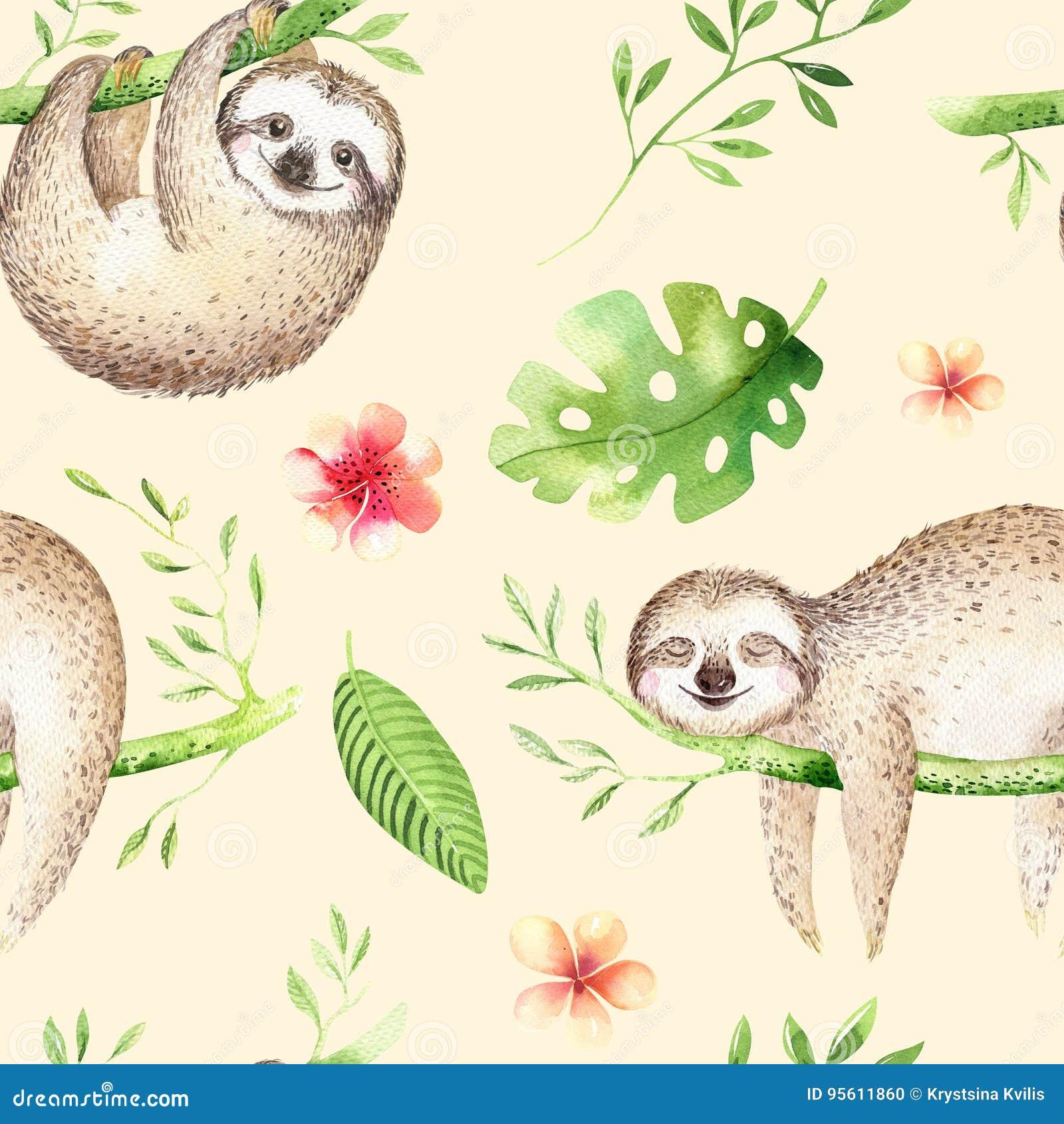 小动物怠惰托儿所隔绝了无缝的样式绘画 水彩boho热带图画,儿童热带图画