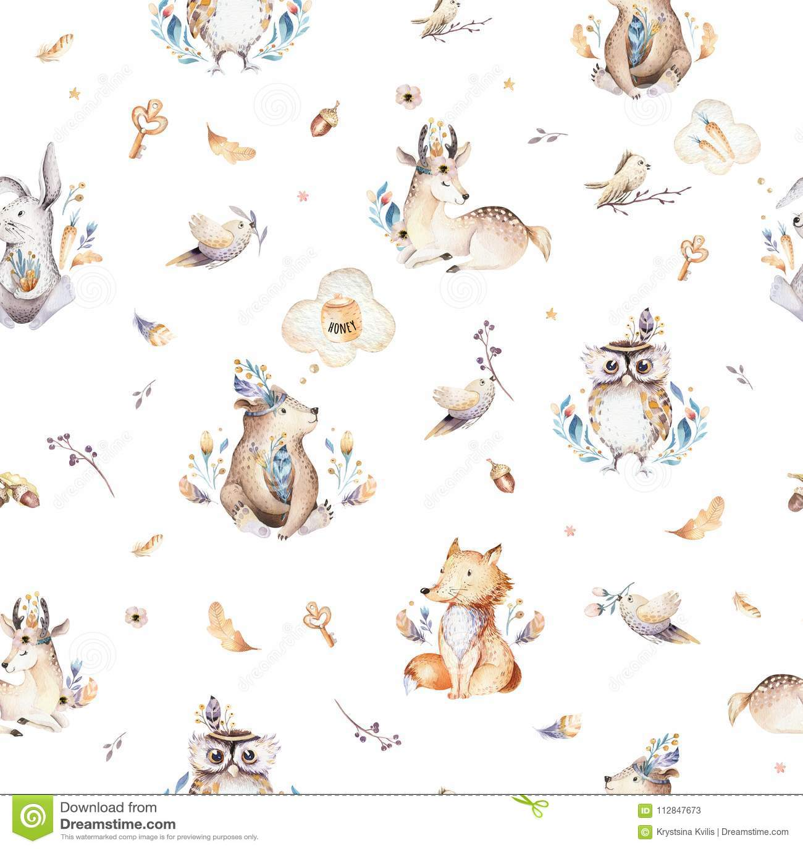 小动物托儿所隔绝了与bannies的无缝的样式 水彩boho逗人喜爱的小狐狸,鹿动物森林地兔子
