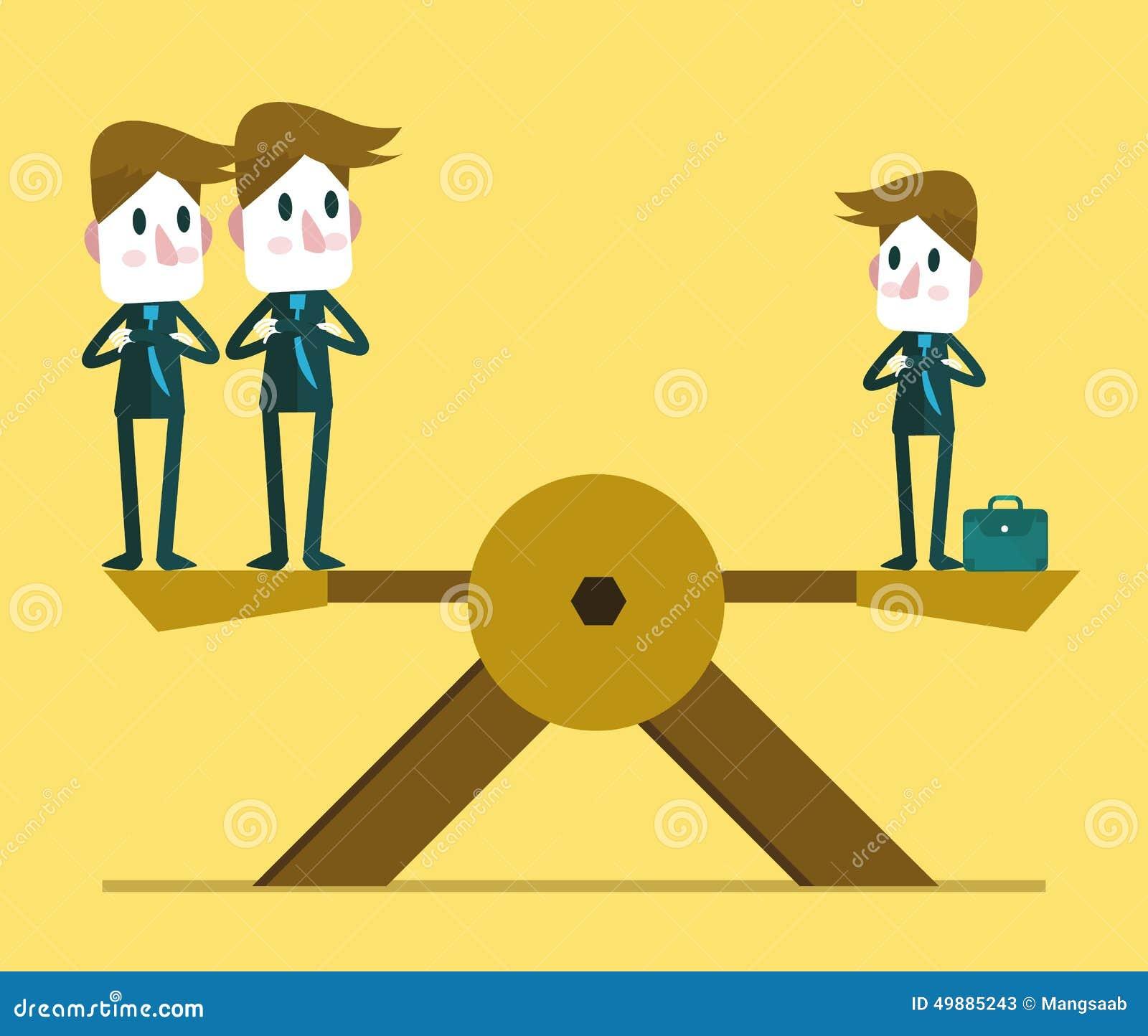 小商人与其他两大笔生意人的额外平衡 人力资源概念
