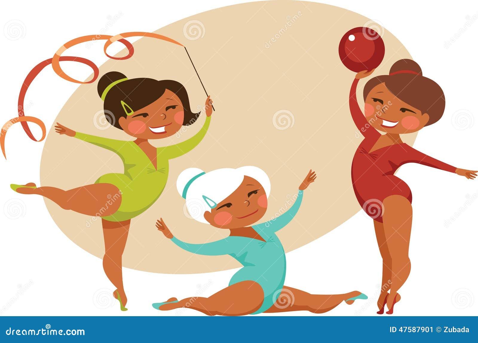 三位小女孩体操运动员动画片样式.图片