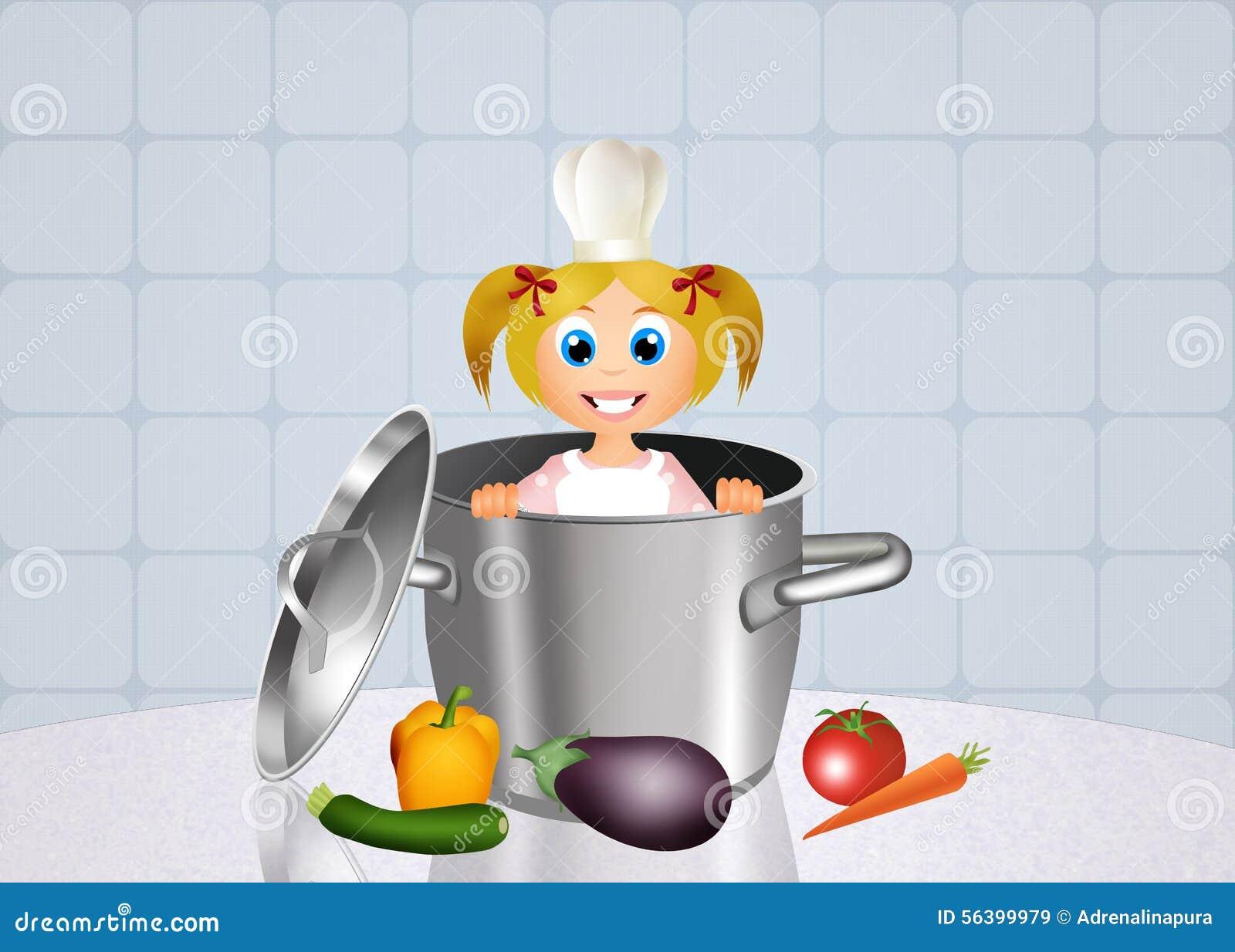 小女孩厨师的例证.图片