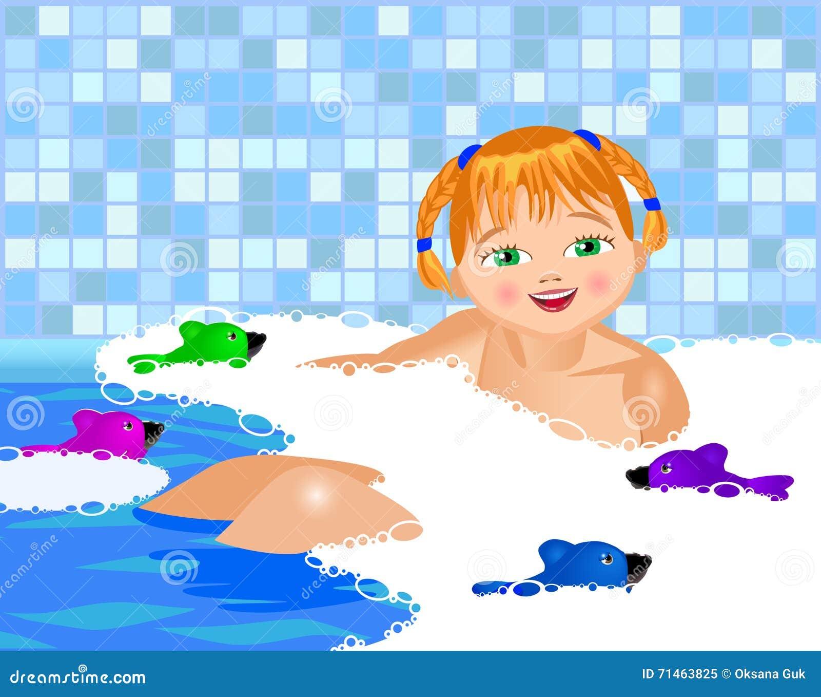 小女孩在浴沐浴