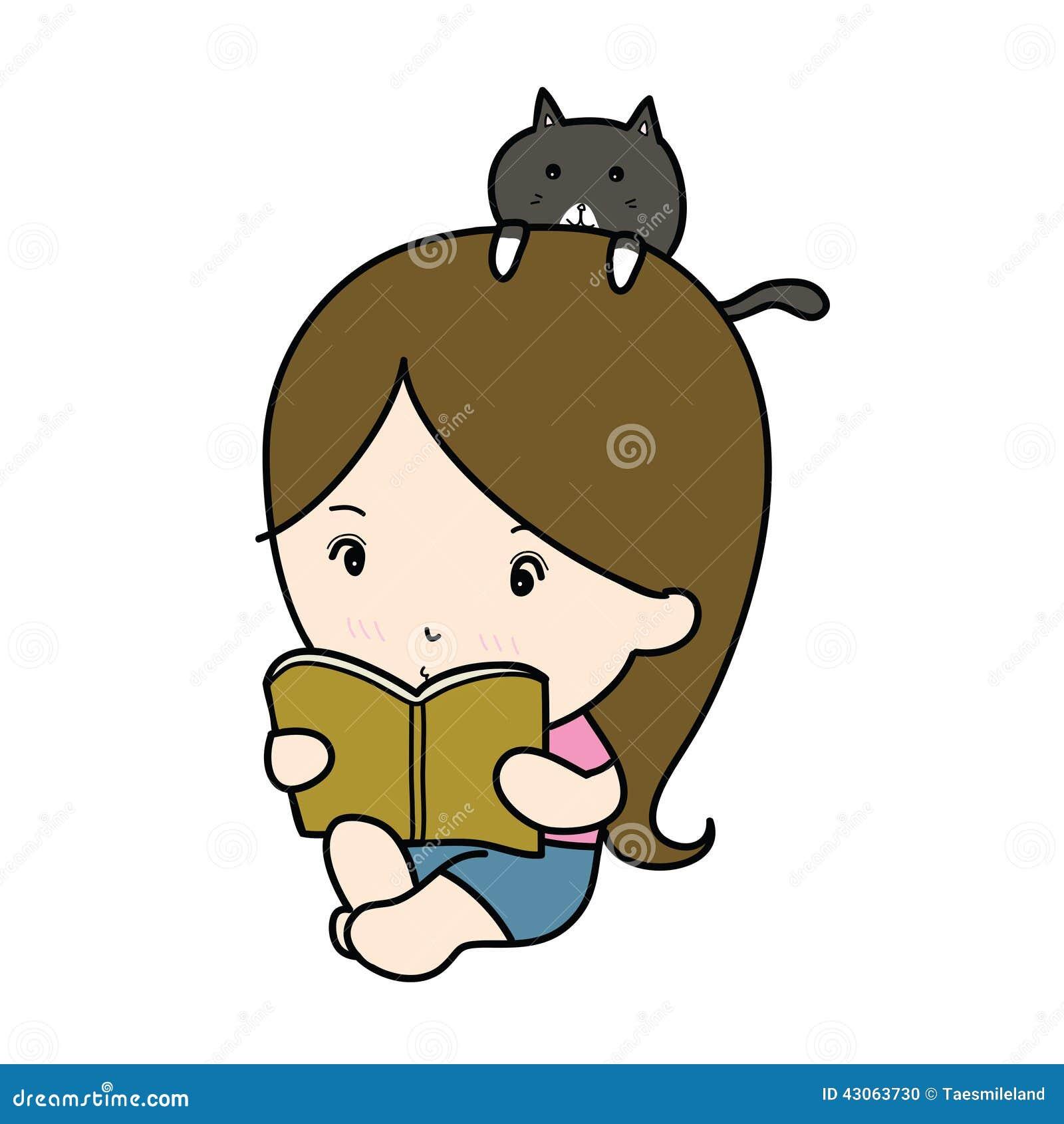一部小女孩阅读书动画片.