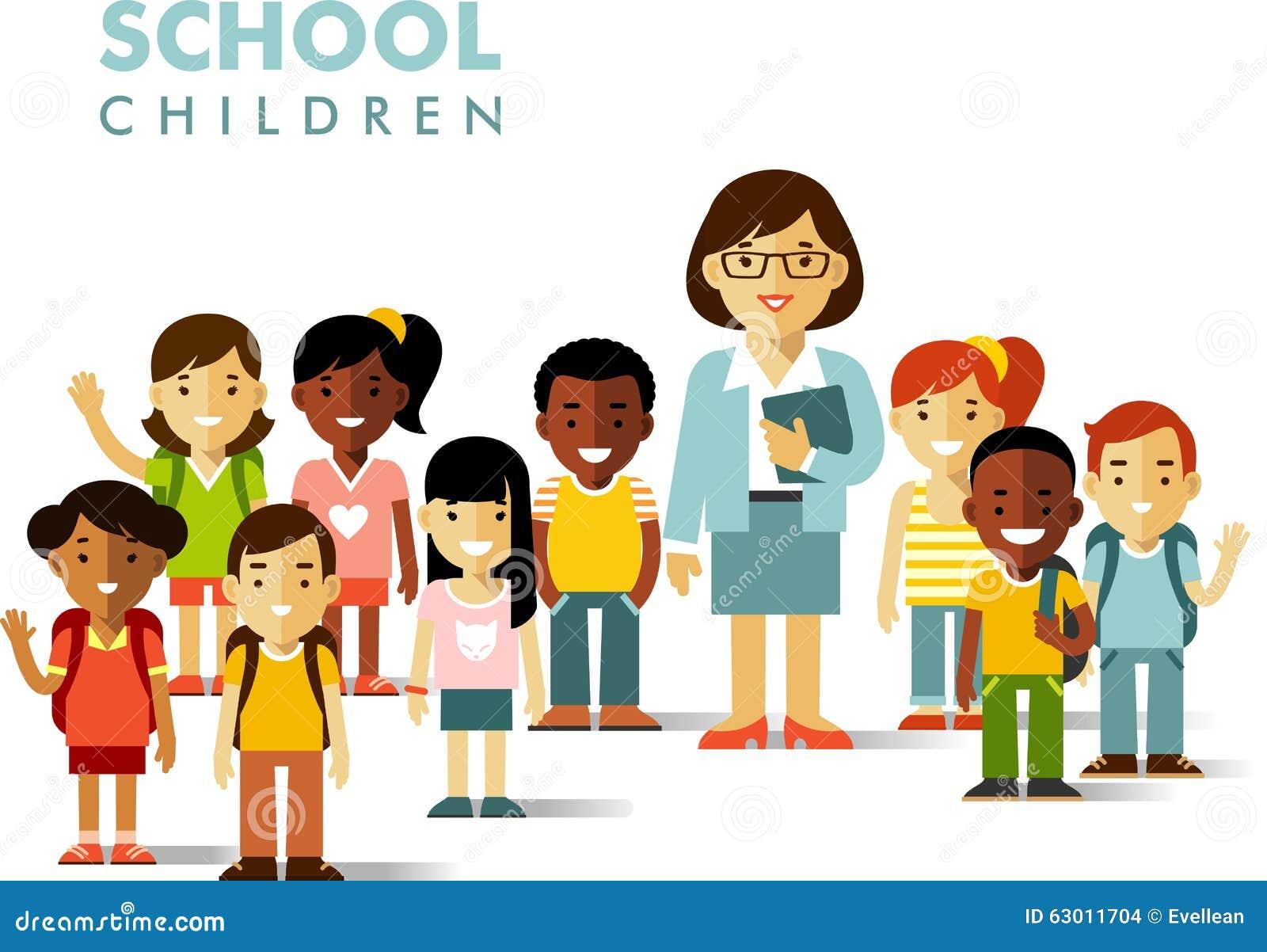 小学生和老师平的样式的图片