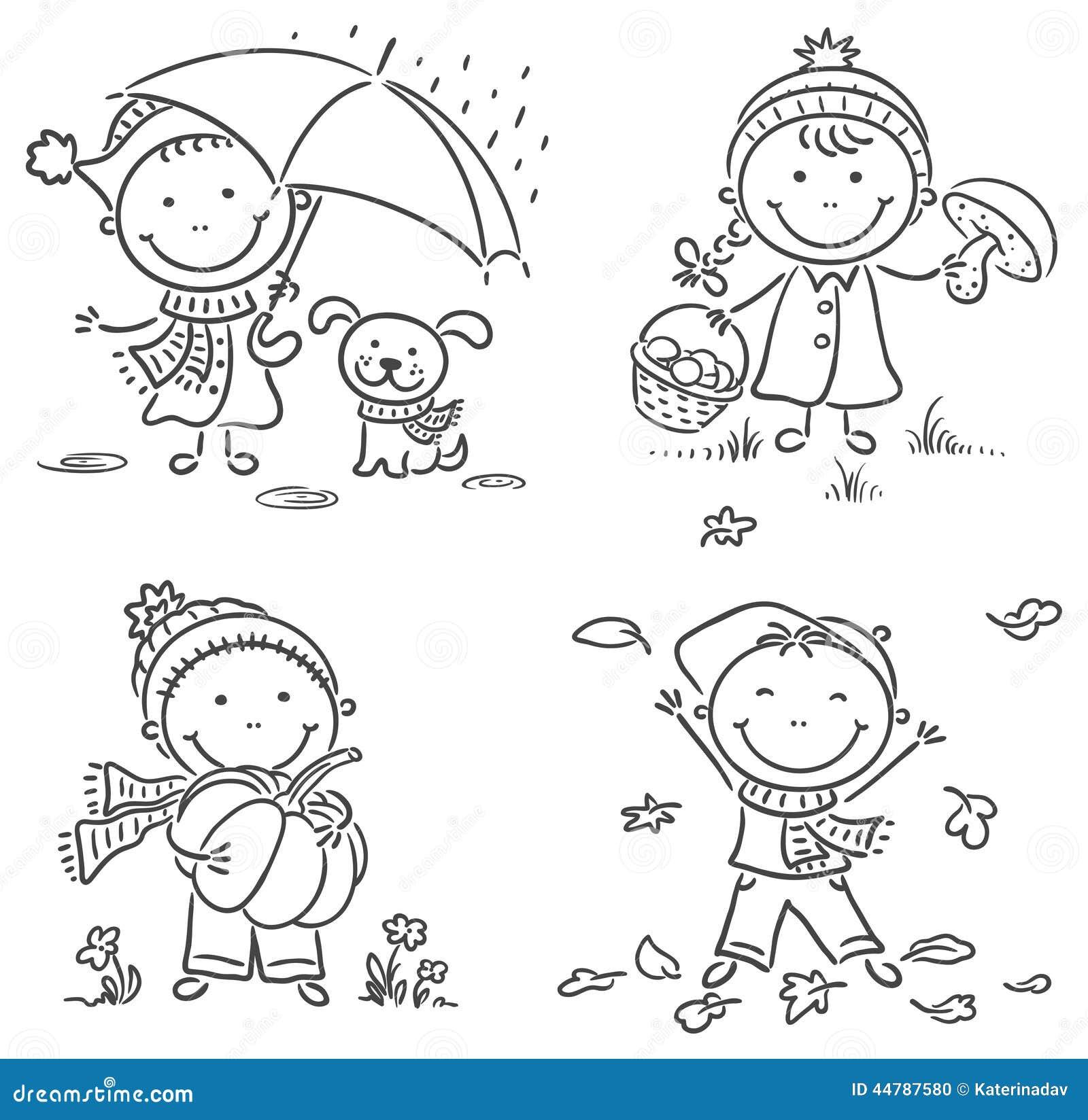 小孩的秋天活动 向量例证 图片 44787580
