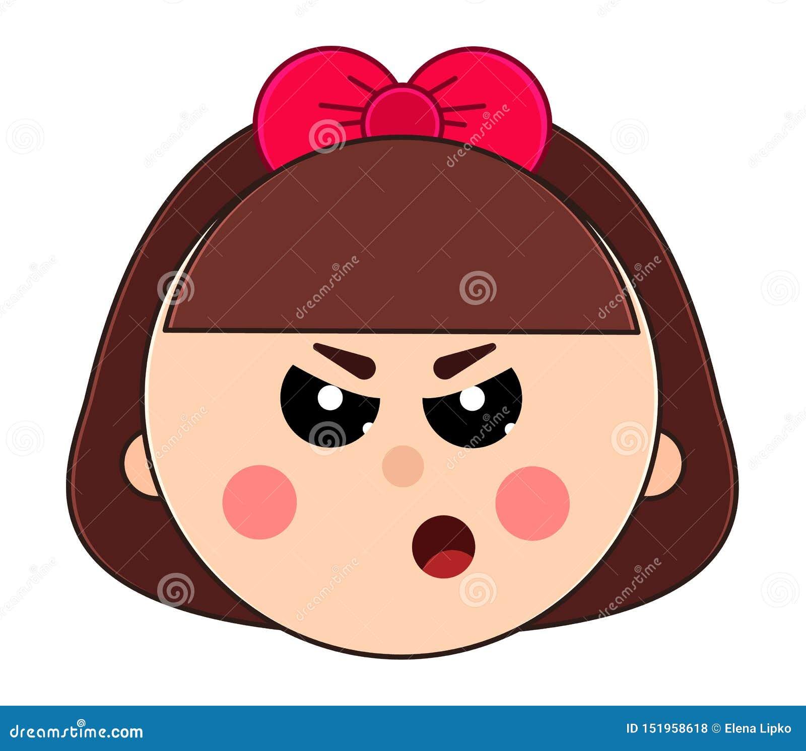 小恼怒的女孩的面孔有短发和逗人喜爱的弓的