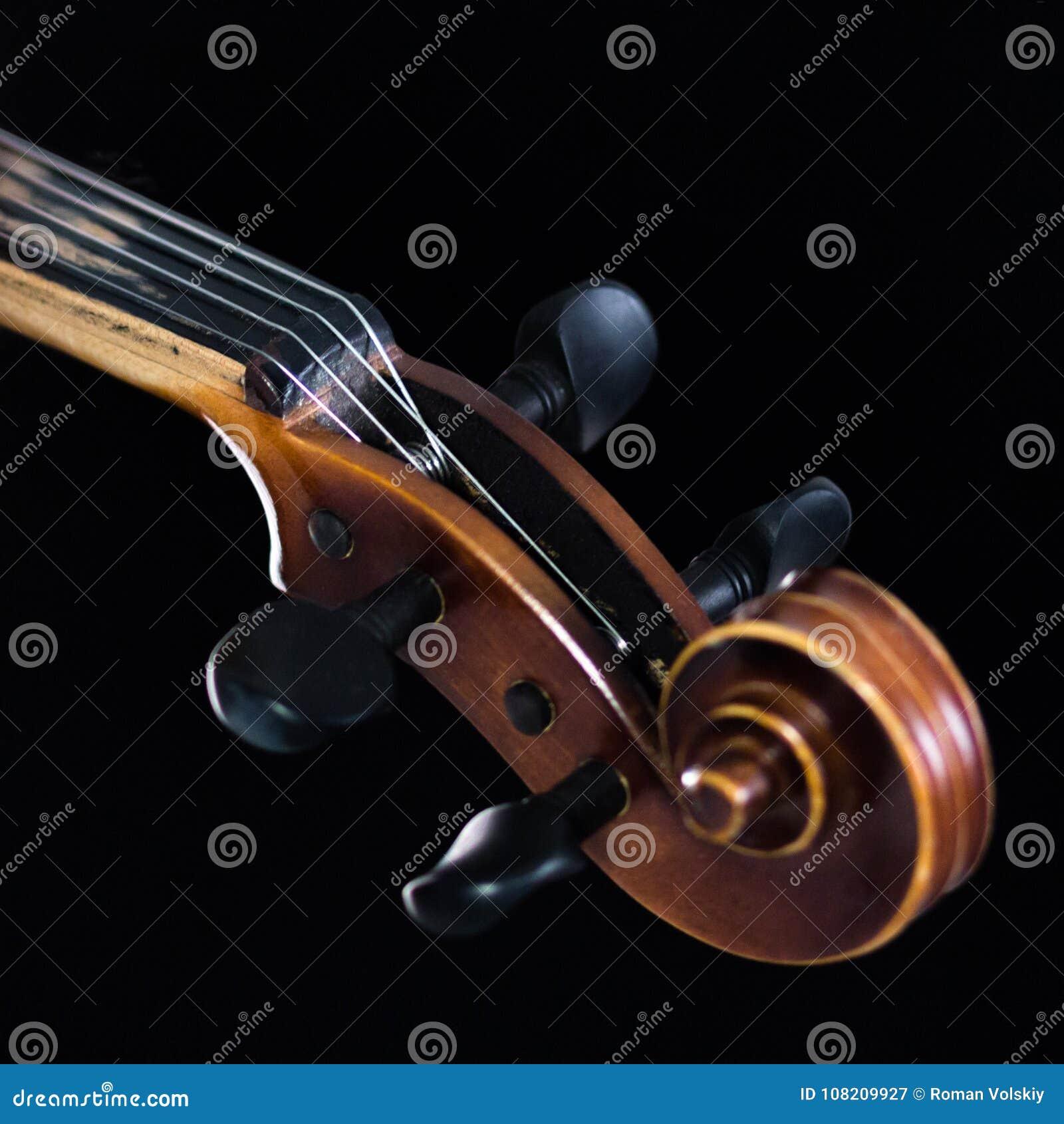 小提琴fretboard的极端部分在黑背景 罐子箱子和经典卷毛的特写镜头 对音乐新闻 S