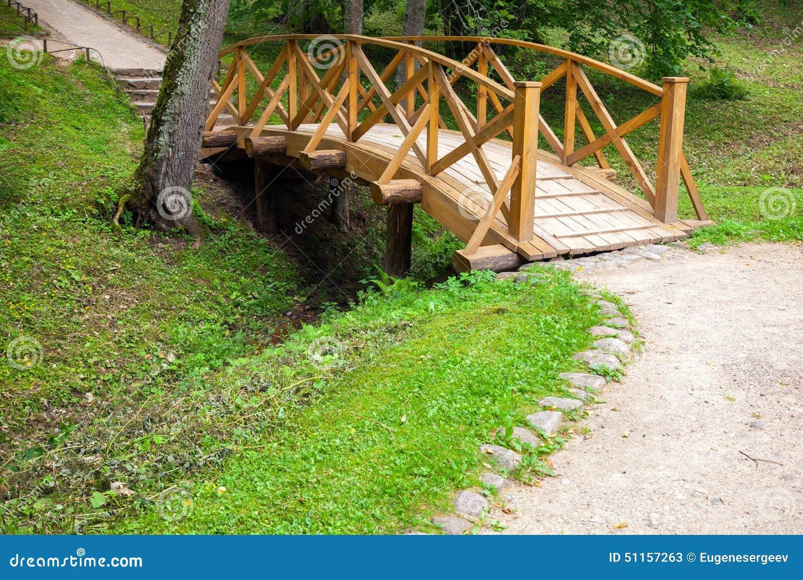 小木桥和走的车道在公园, trigorskoye村庄,俄罗斯.图片