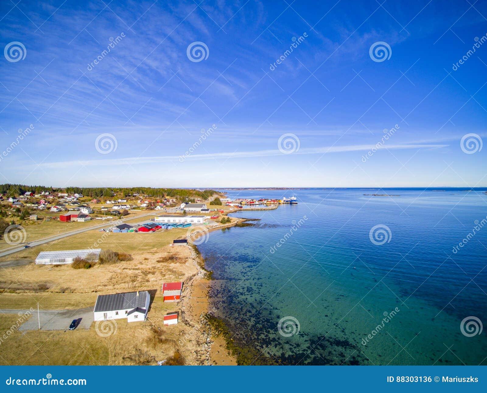 小渔镇,挪威海岛,风景鸟瞰图