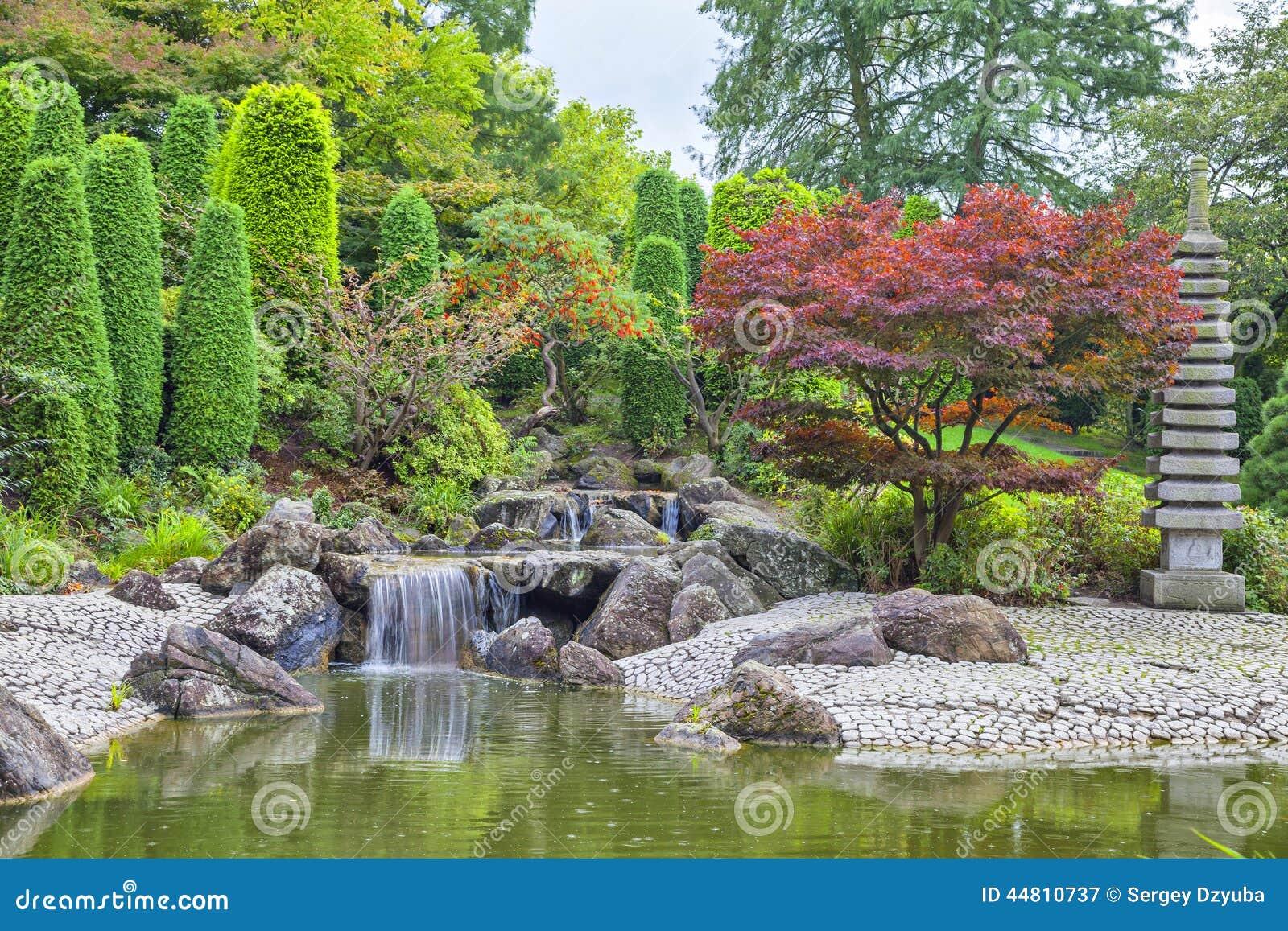 在日本庭院里落下瀑布在波恩,德国.图片