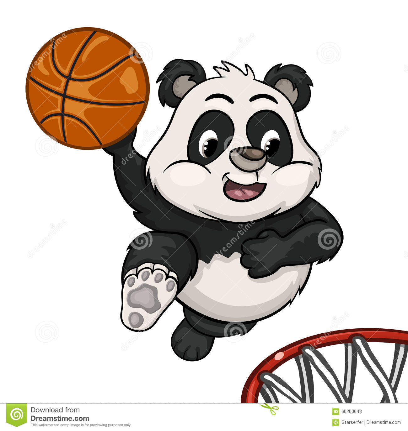 滑稽的在跃迁的动画片小熊猫将准备投掷球入篮子.图片