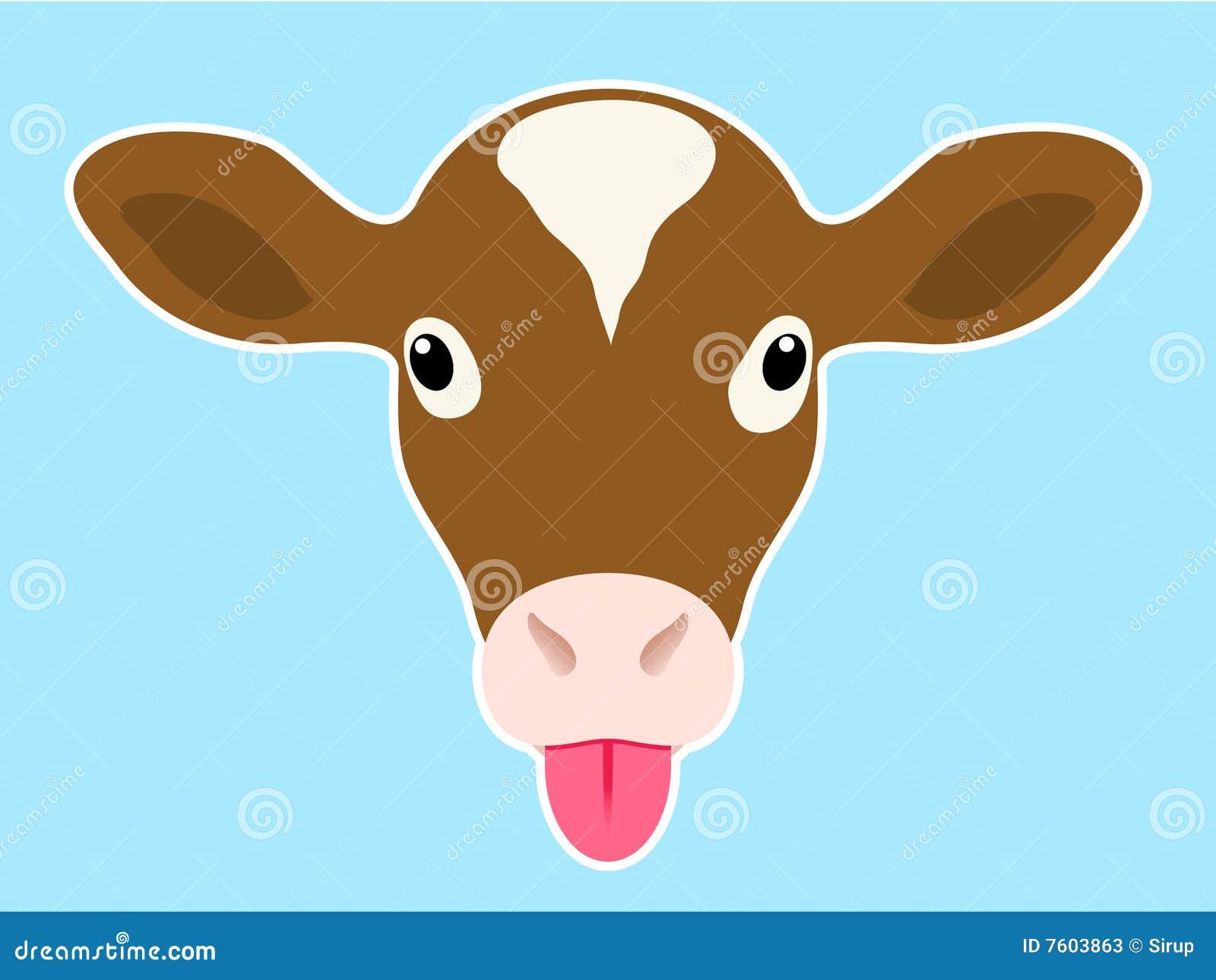 小牛朝向伸出舌头
