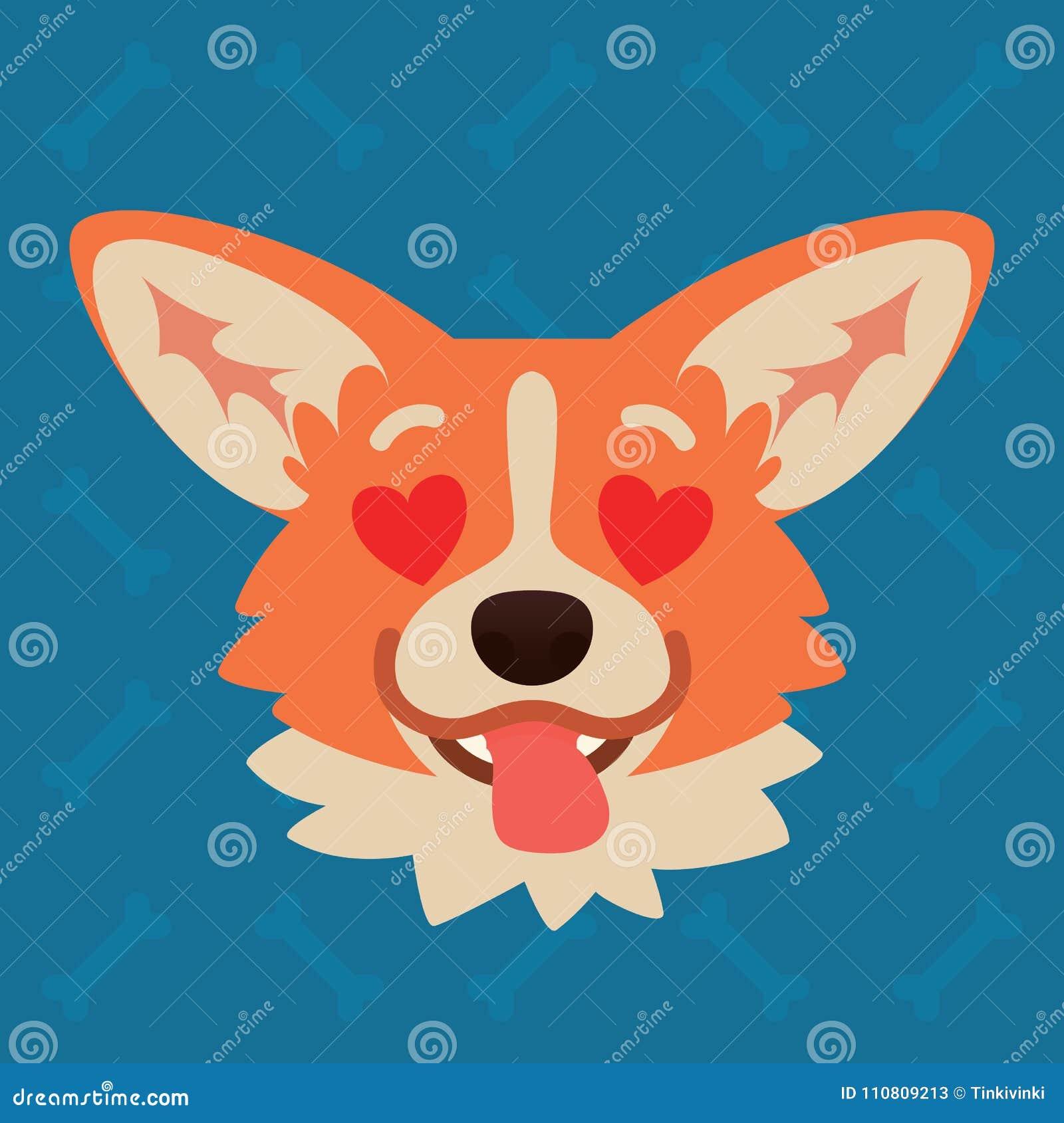 小狗狗情感头 逗人喜爱的狗的传染媒介例证在平的样式的显示被迷恋的情感 在爱Emoji 面带笑容
