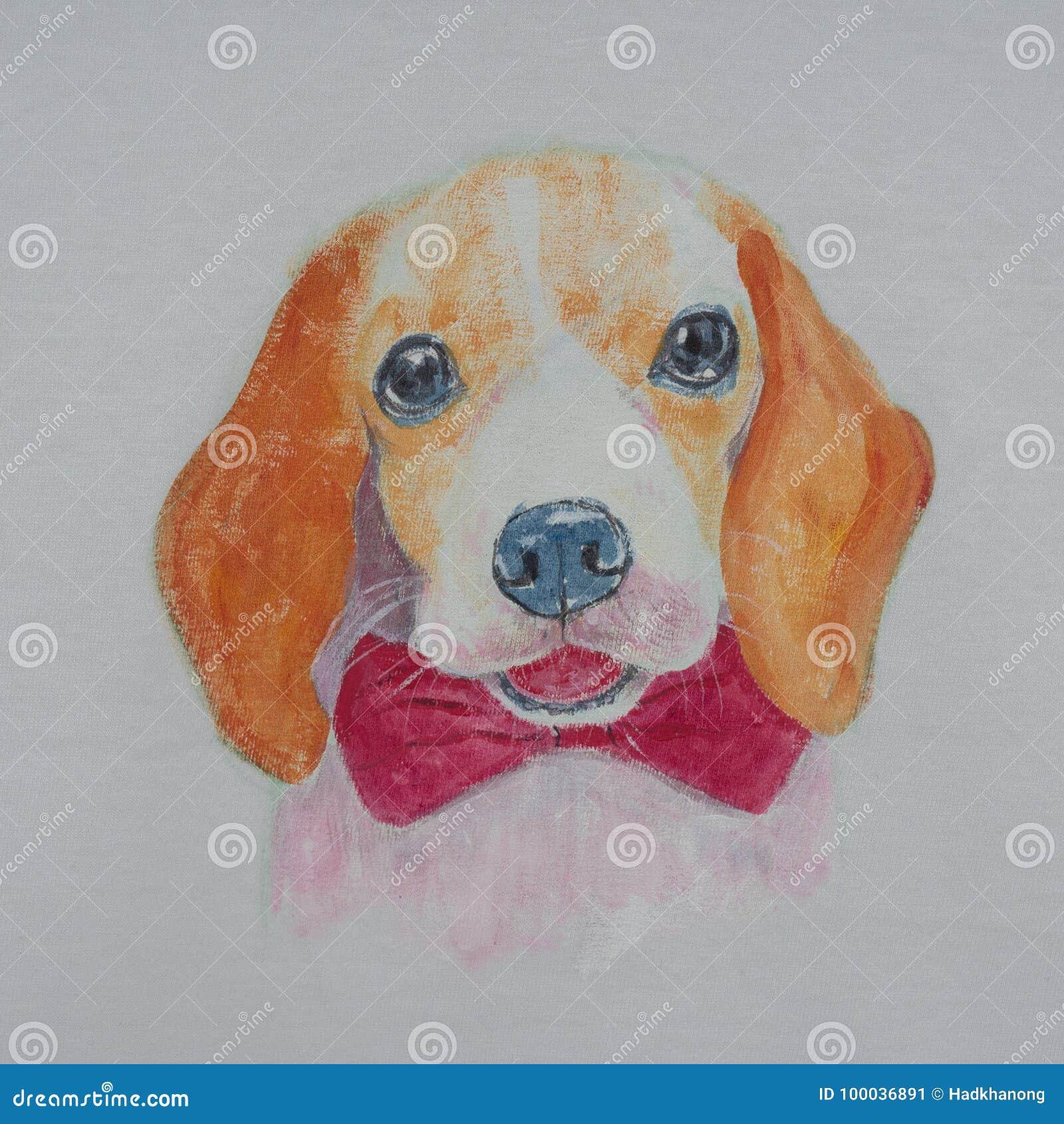 小猎犬狗,在织品的丙烯酸酯的绘画画象