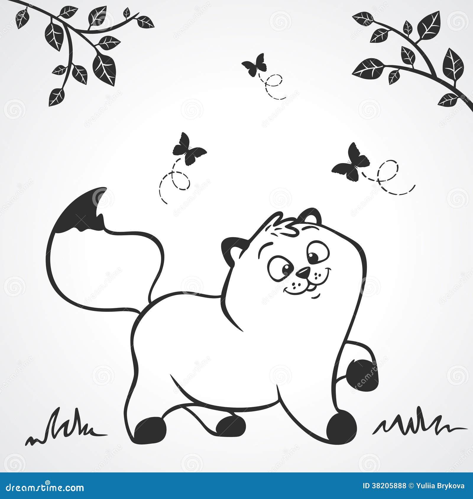 黑白例证剪影动画片逗人喜爱的小猫.