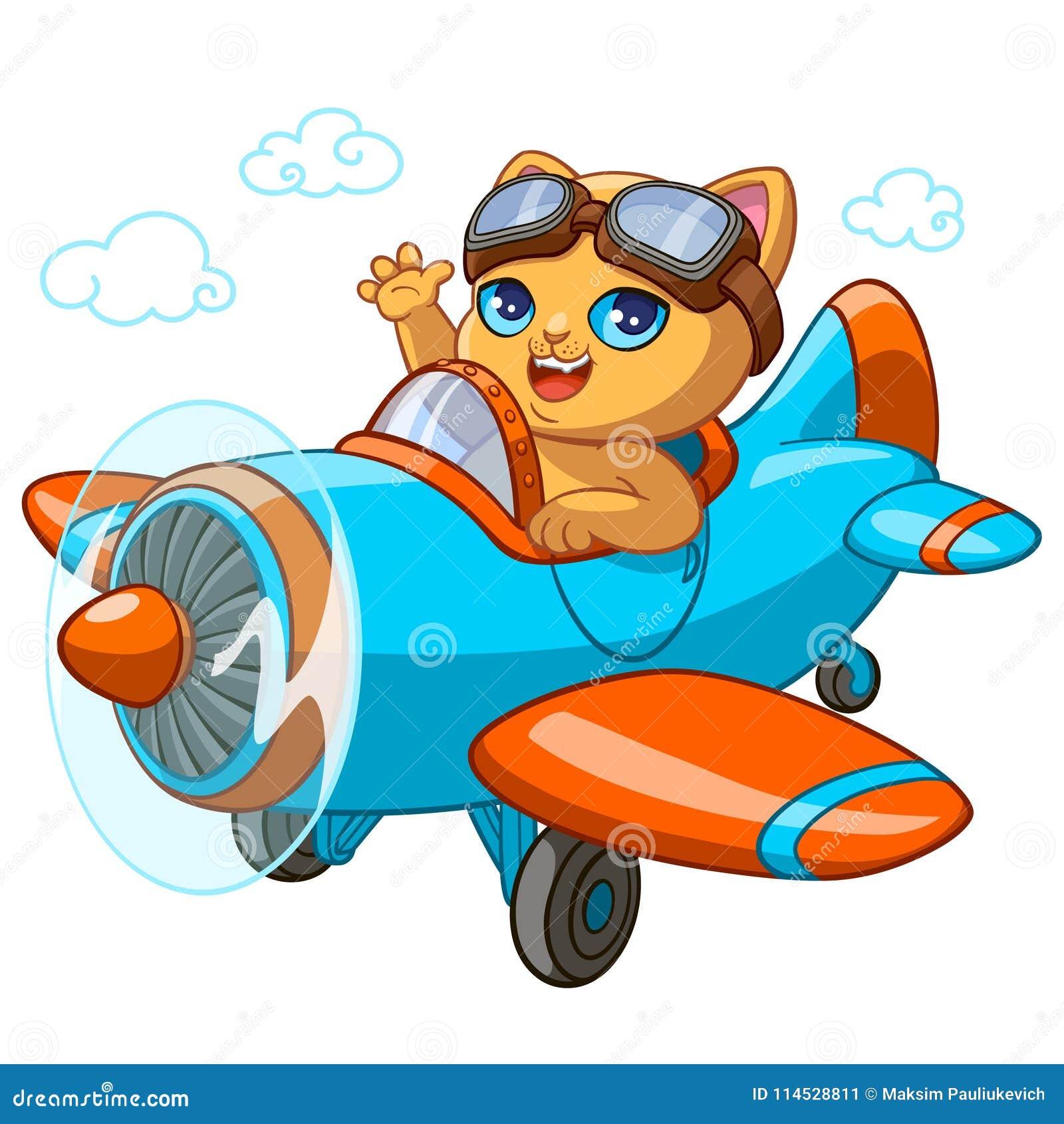 小猫的全部赌注试验动画片传染媒介例证在玩具飞机的孩子生日贺卡设计模板的