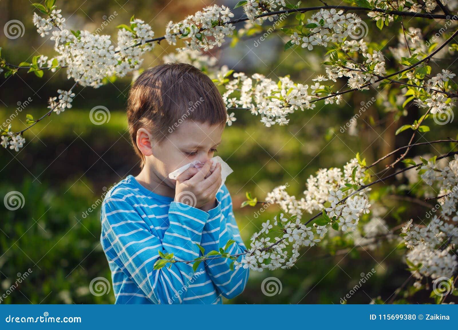 小男孩打喷嚏由于过敏到花粉