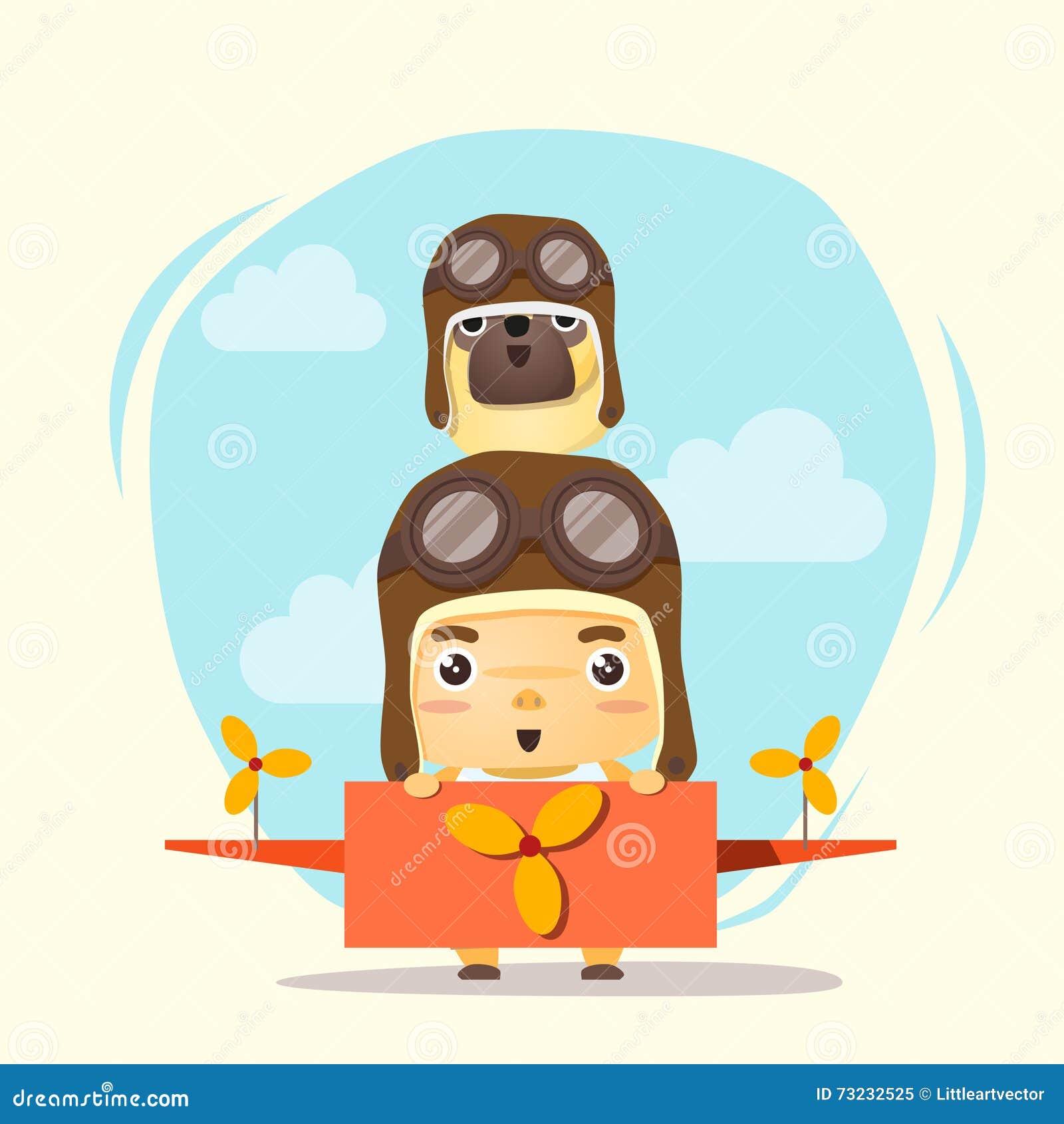小男孩飞行员和朋友