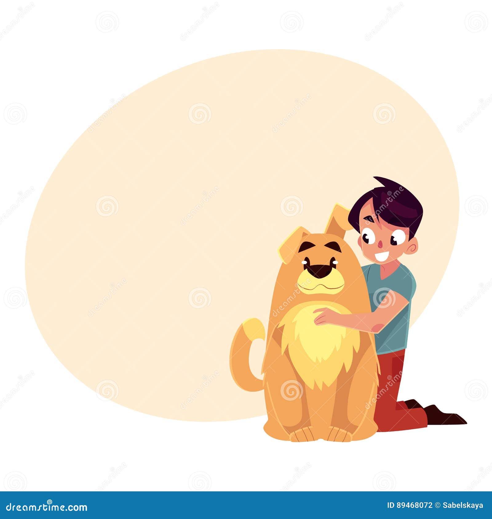 小男孩,孩子,与大蓬松棕色狗朋友的孩子,伴侣