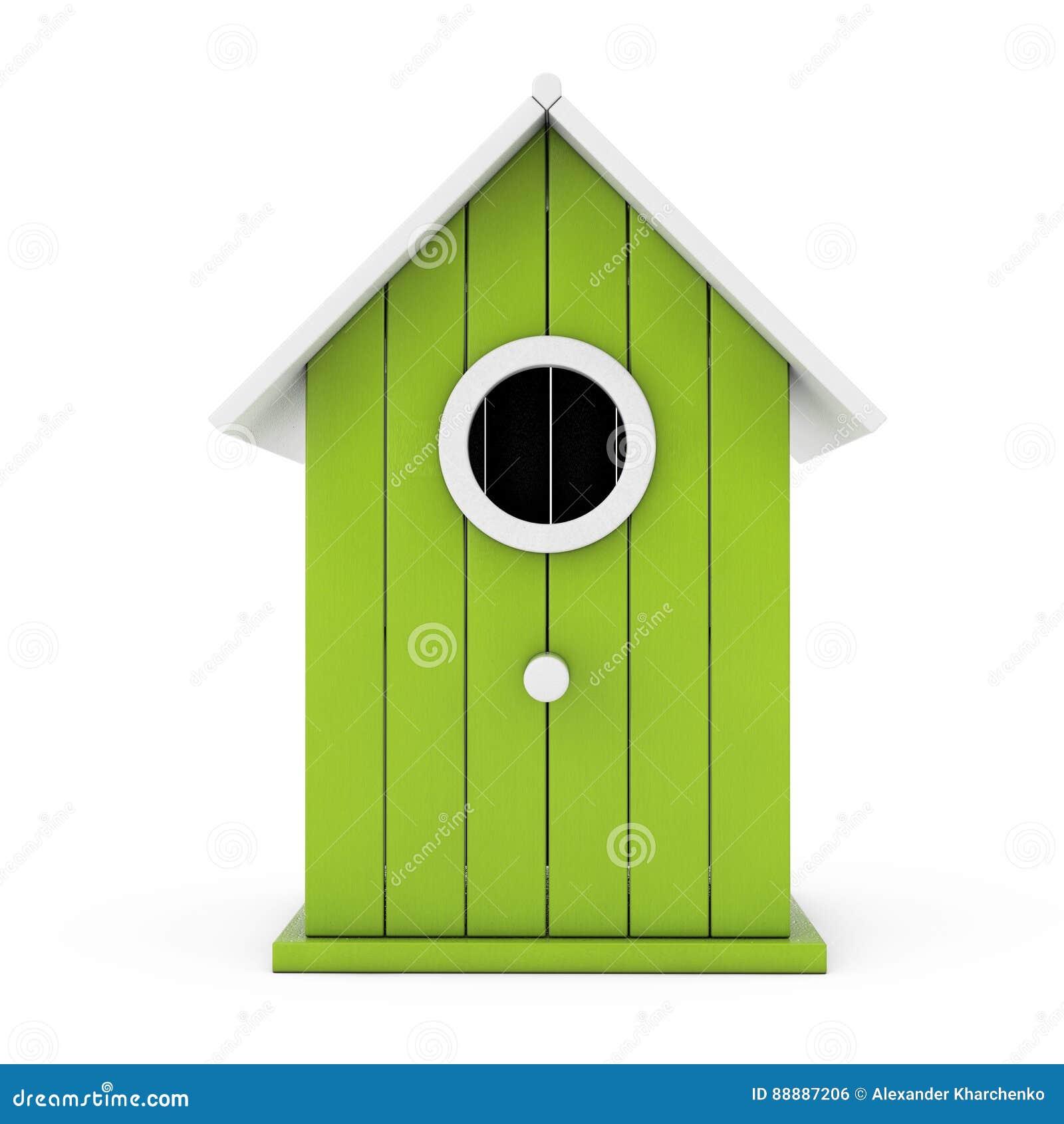 小的木橄榄色的鸟舍 3d翻译
