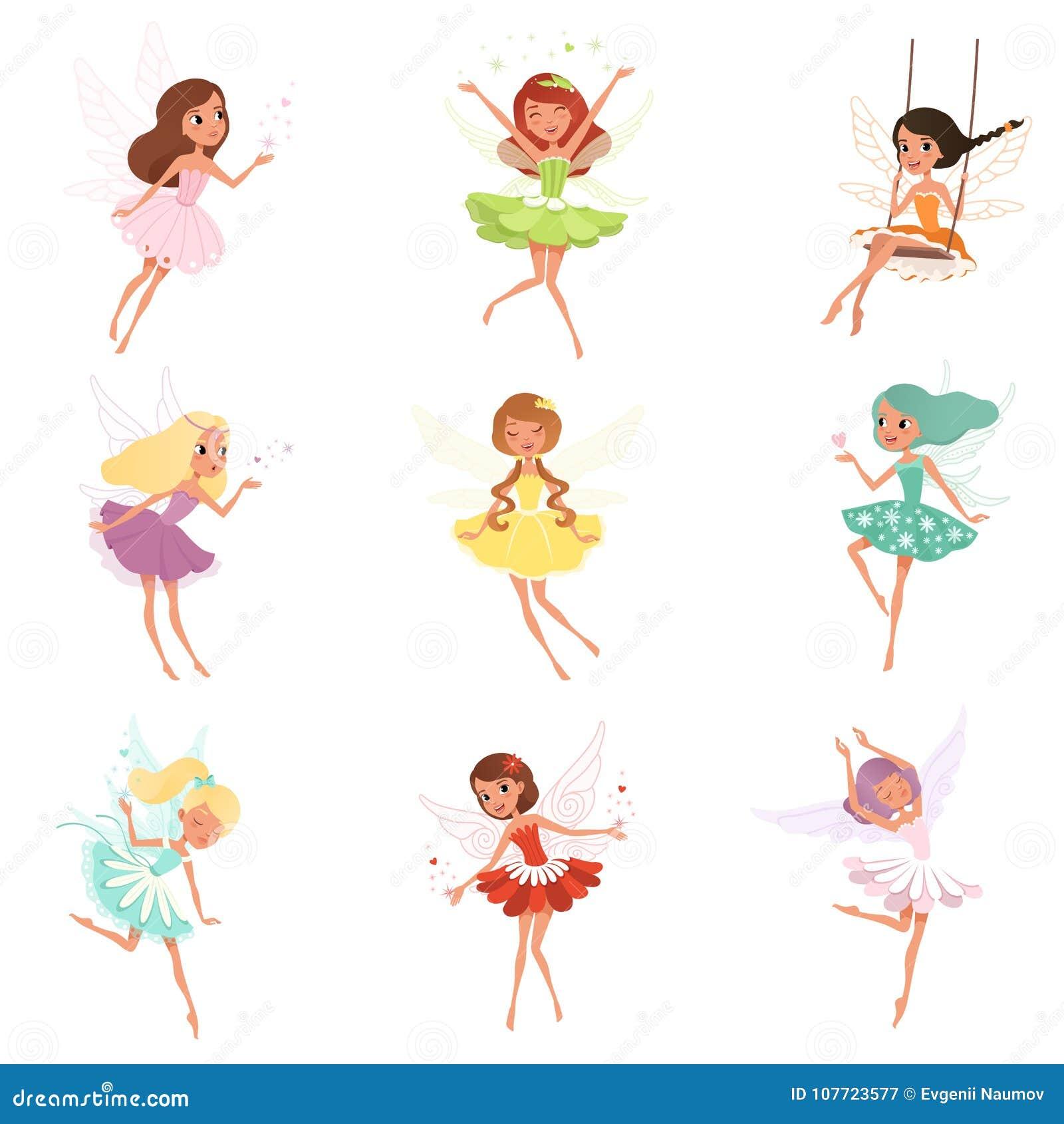 小神仙的汇集 从童话的不可思议的生物 动画片与五颜六色的头发和翼的女孩字符