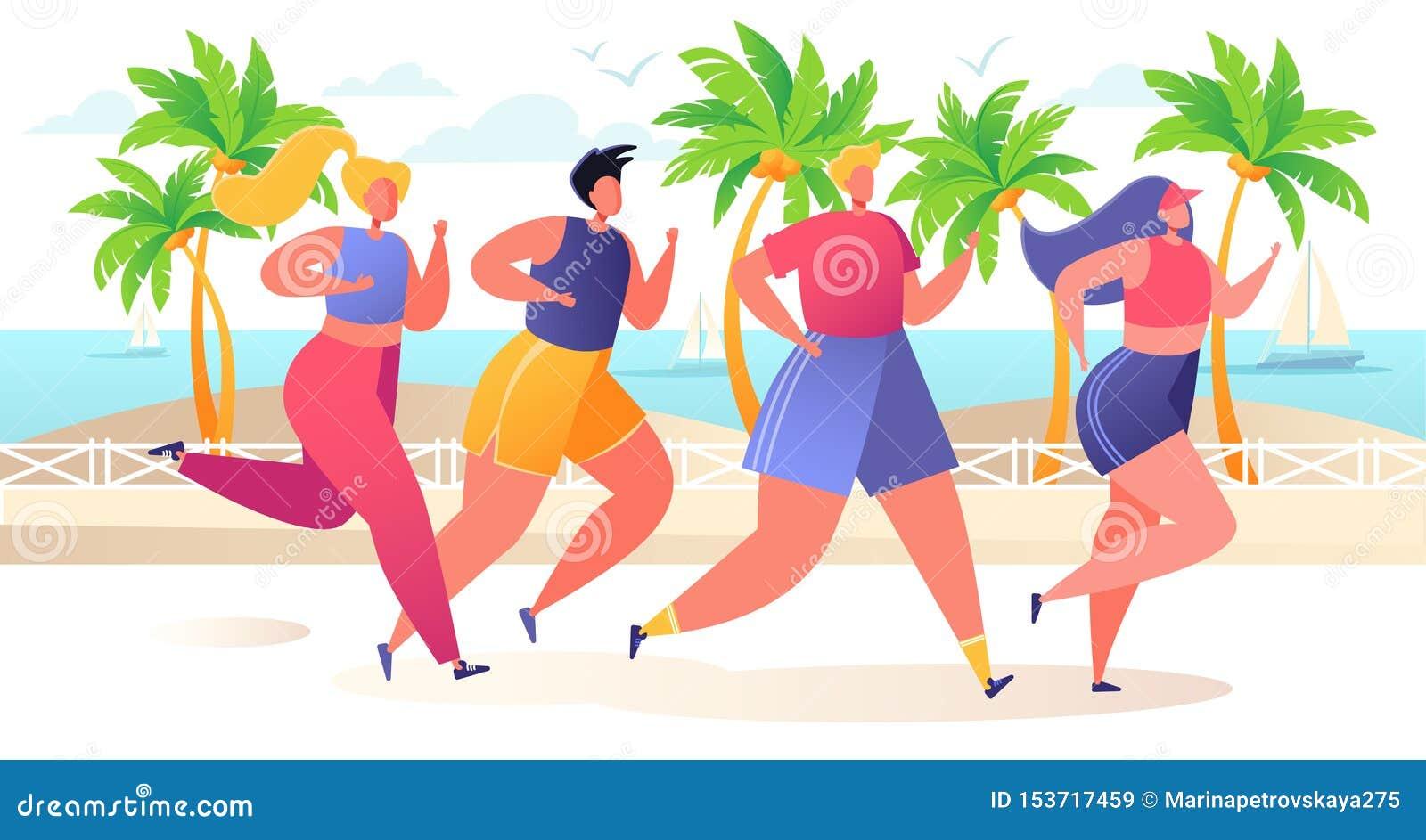 小组动画片,平的在堤防的字符连续马拉松距离与热带棕榈树