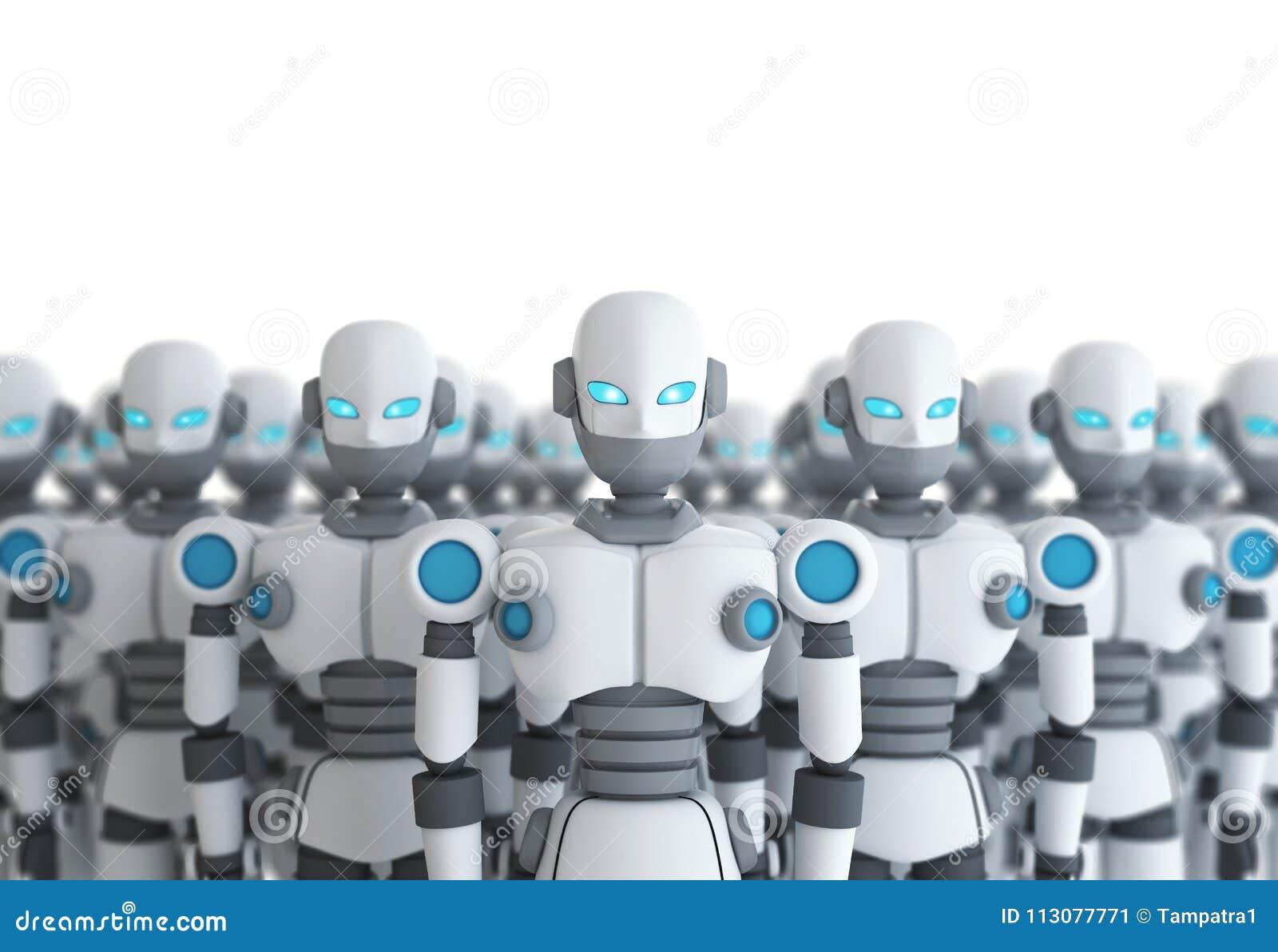 小组在白色,人工智能的机器人