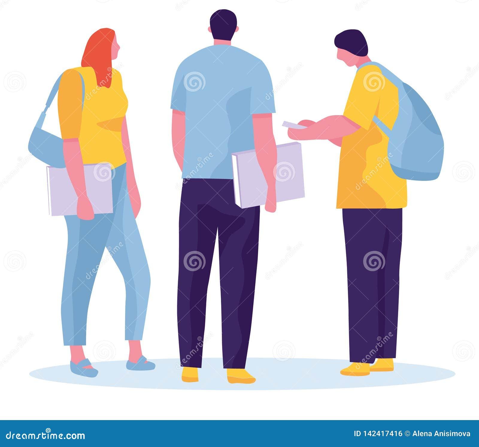 小组学生在白色背景跳 有背包和书的快乐的青年人 也corel凹道例证向量