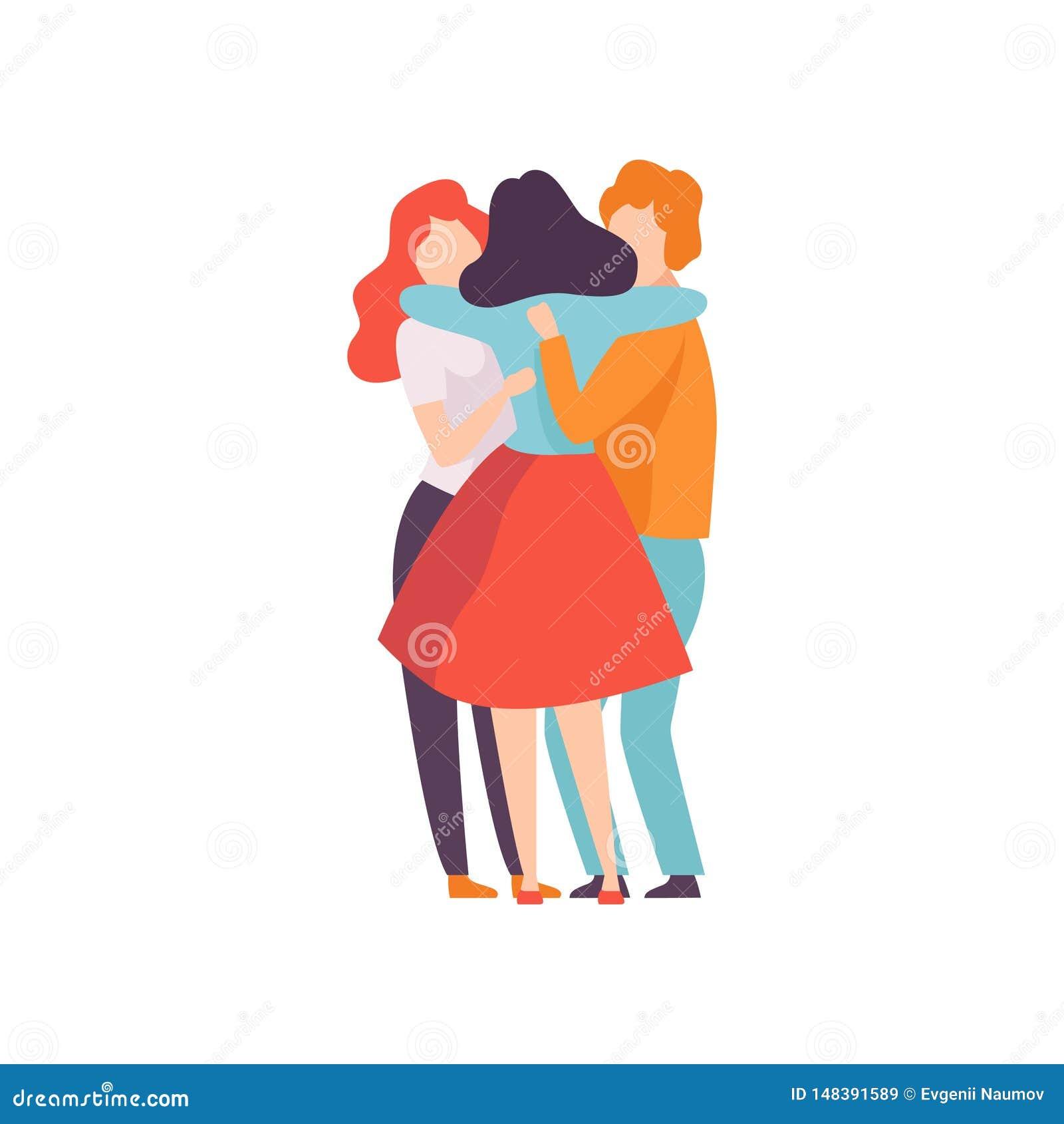 小组愉快的年轻男性和女性拥抱,庆祝事件,最好的朋友,友谊概念的人们